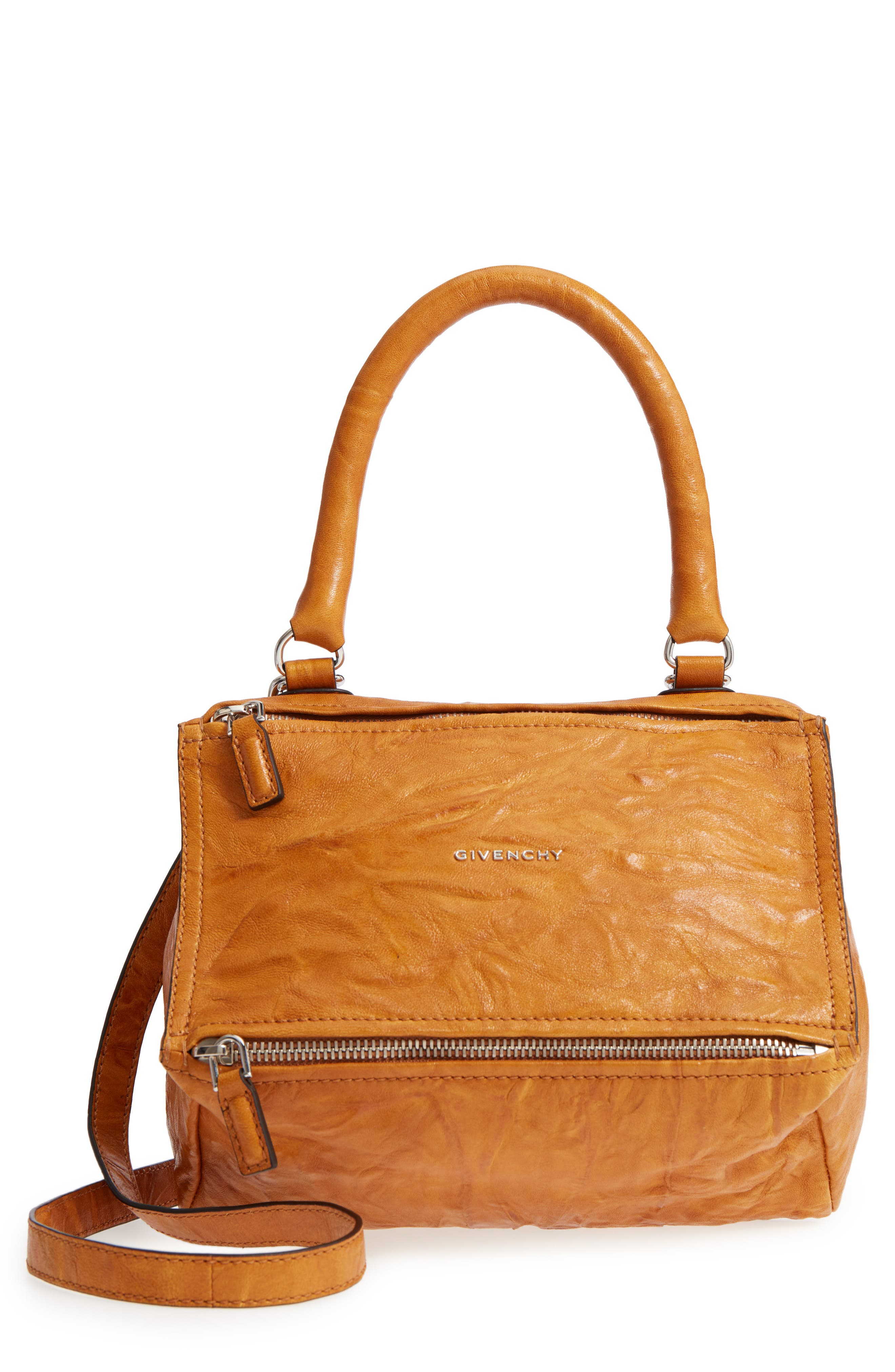 'Small Pepe Pandora' Leather Shoulder Bag,                         Main,                         color, Amber