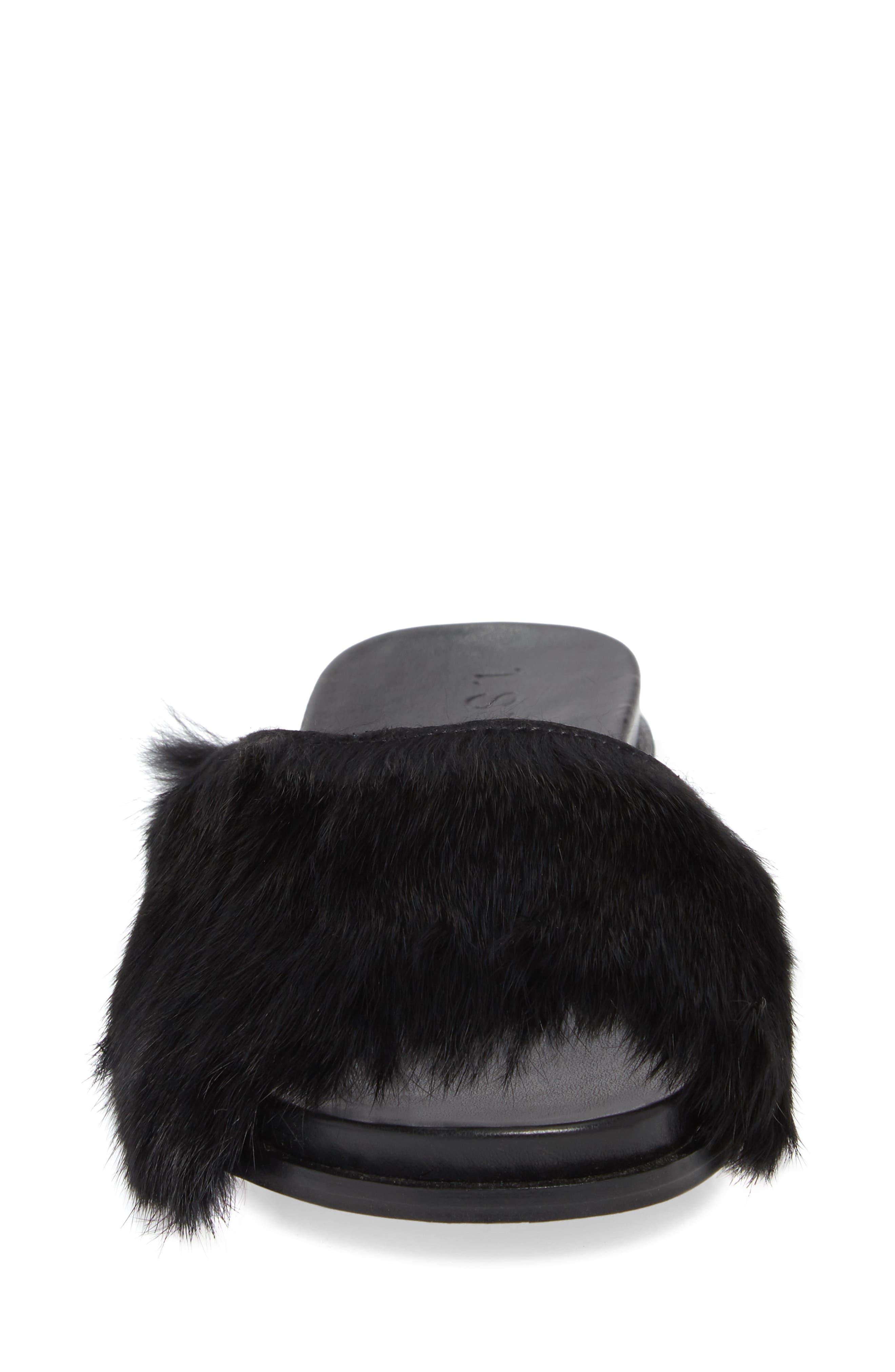 Onora Genuine Rabbit Fur Slide Sandal,                             Alternate thumbnail 4, color,                             Black Rabbit Fur