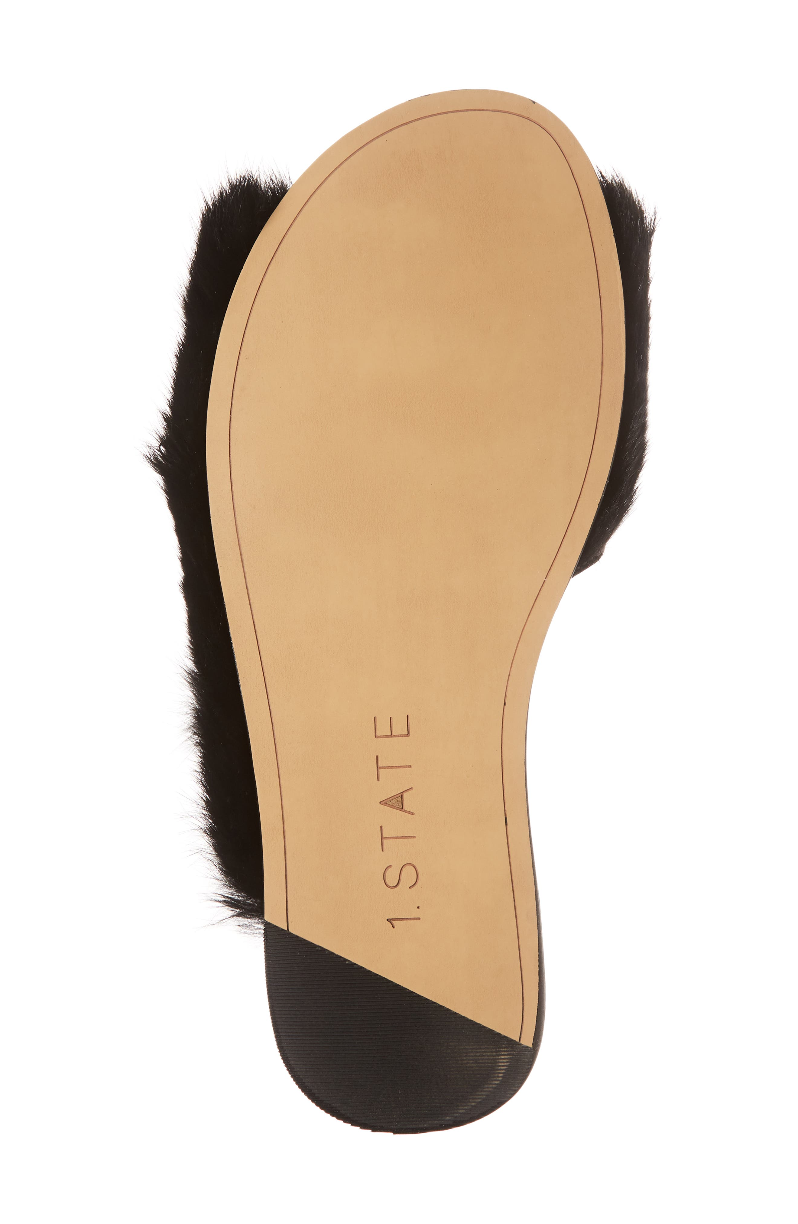 Onora Genuine Rabbit Fur Slide Sandal,                             Alternate thumbnail 6, color,                             Black Rabbit Fur