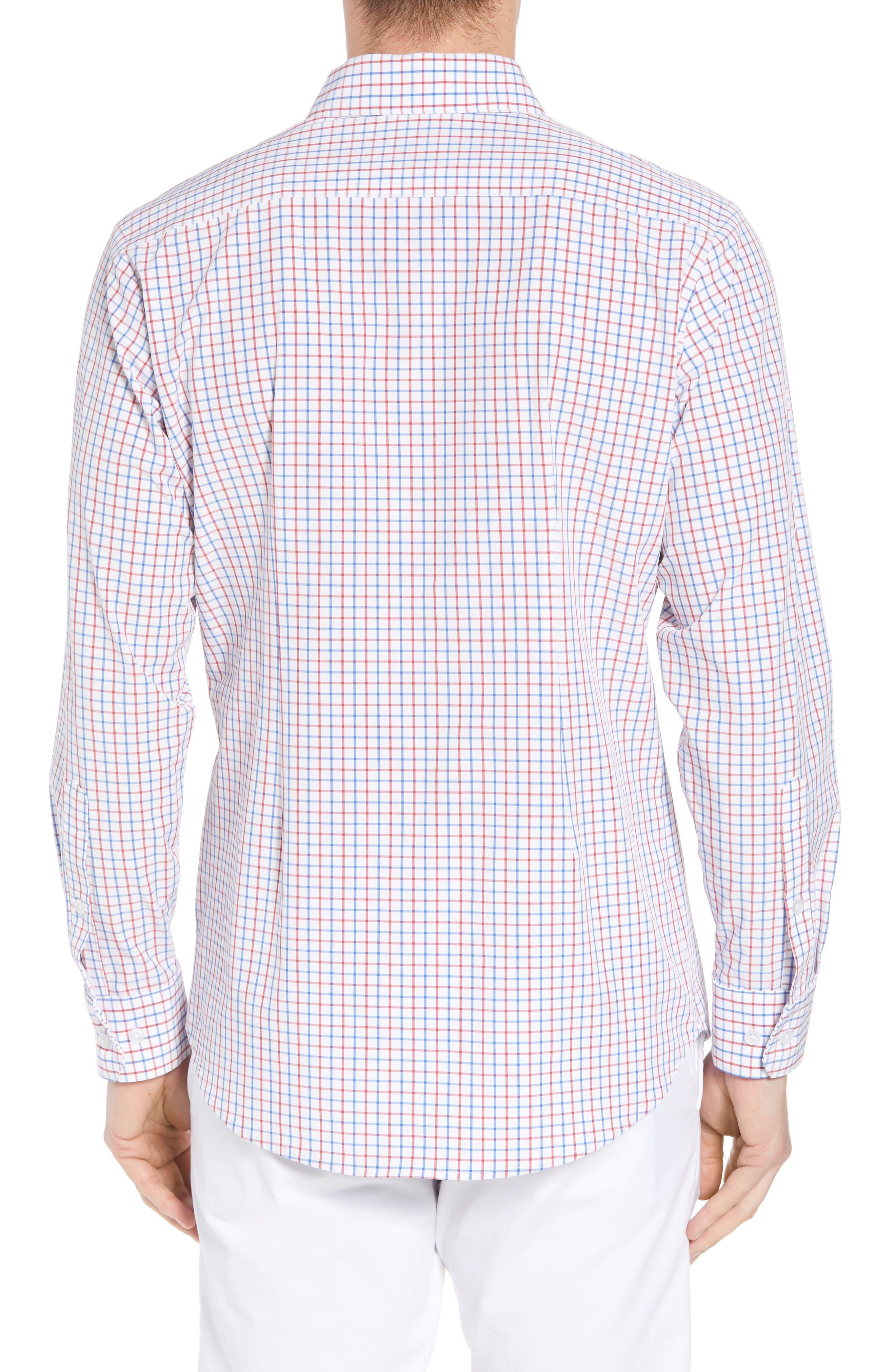 Henry Slim Fit Check Performance Sport Shirt,                             Alternate thumbnail 3, color,                             Multi