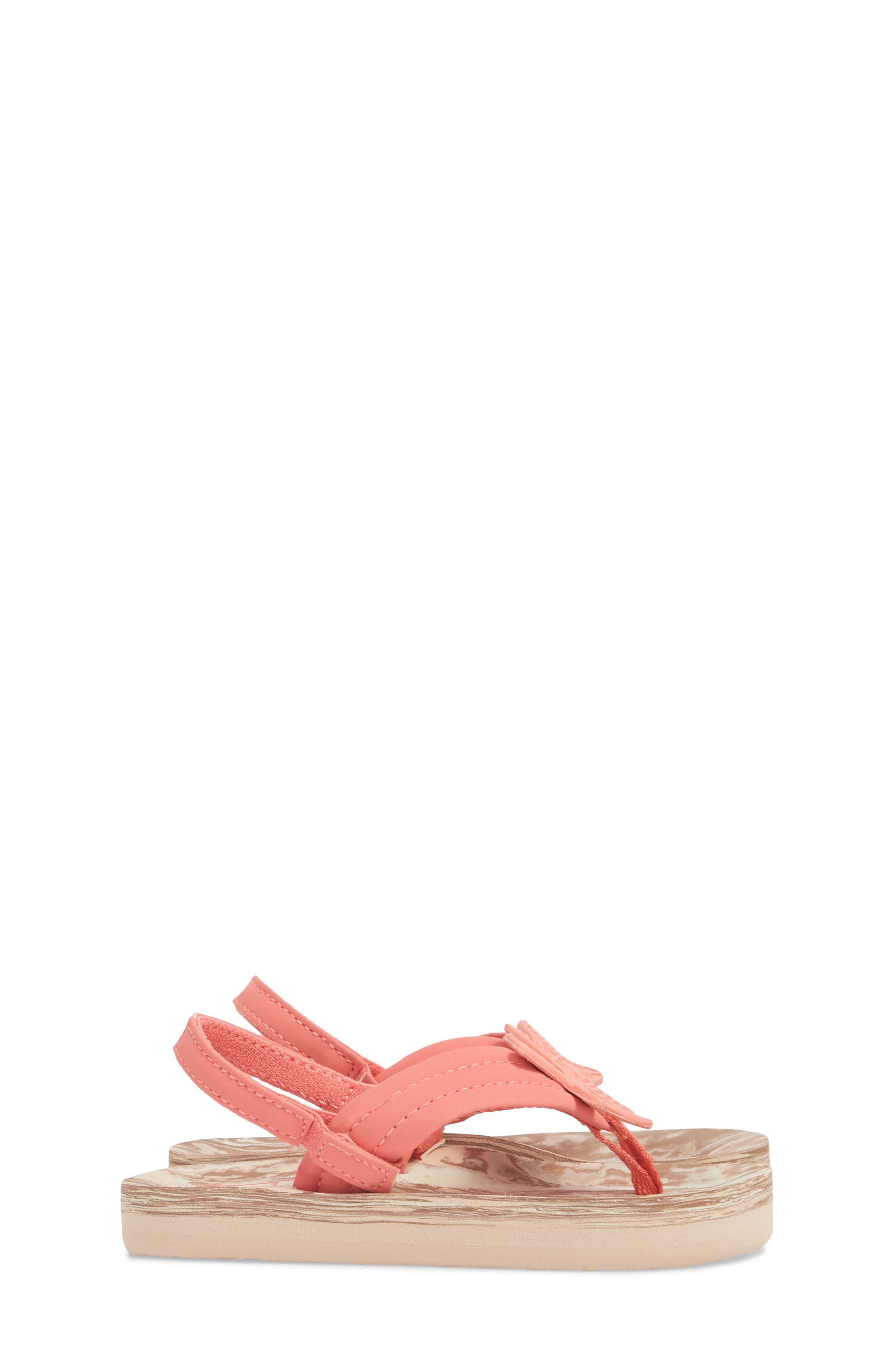 Little Ahi Swirl Flip Flop,                             Alternate thumbnail 3, color,                             Coral