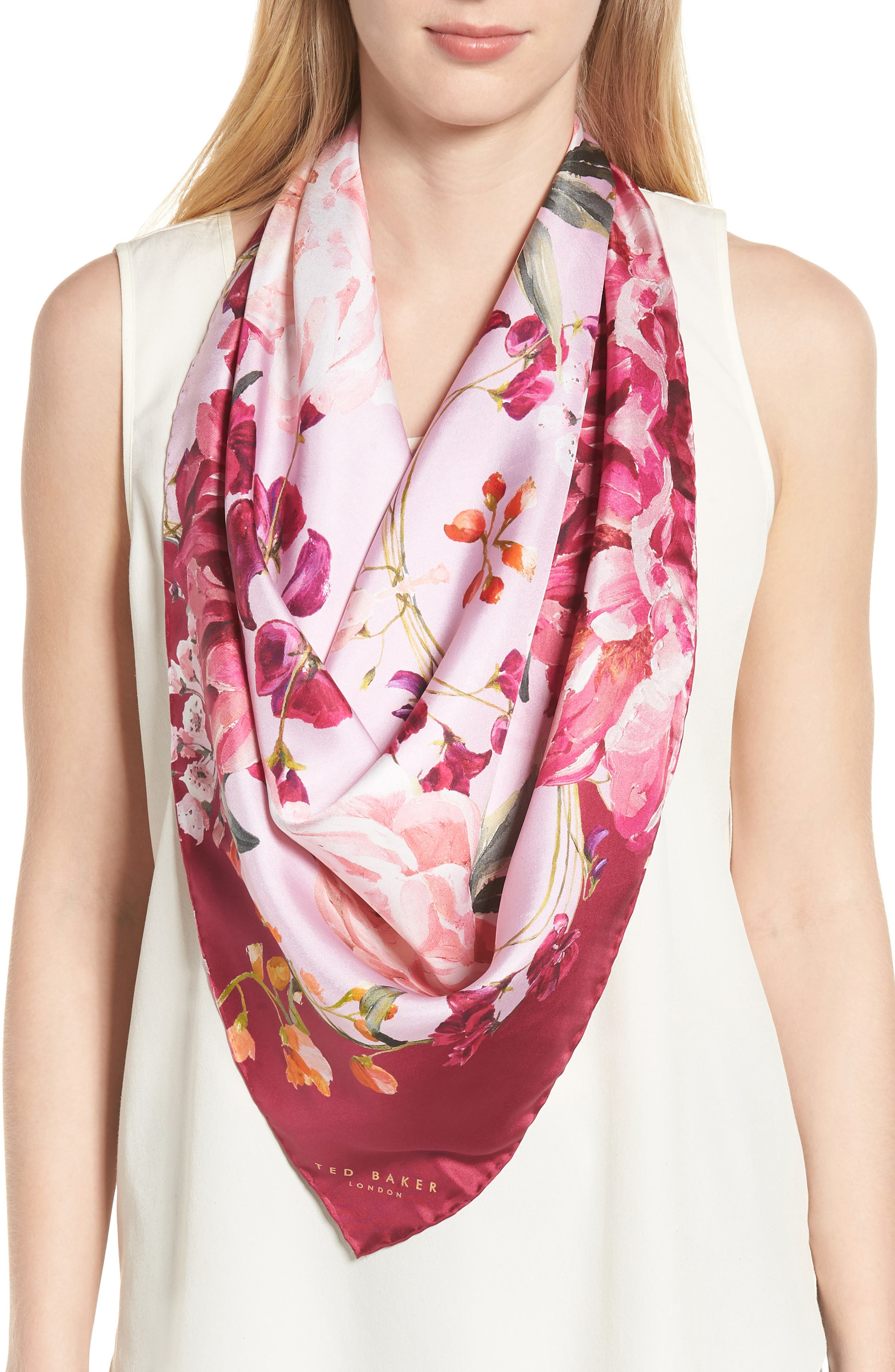Serenity Square Silk Scarf,                             Main thumbnail 1, color,                             Pale Pink