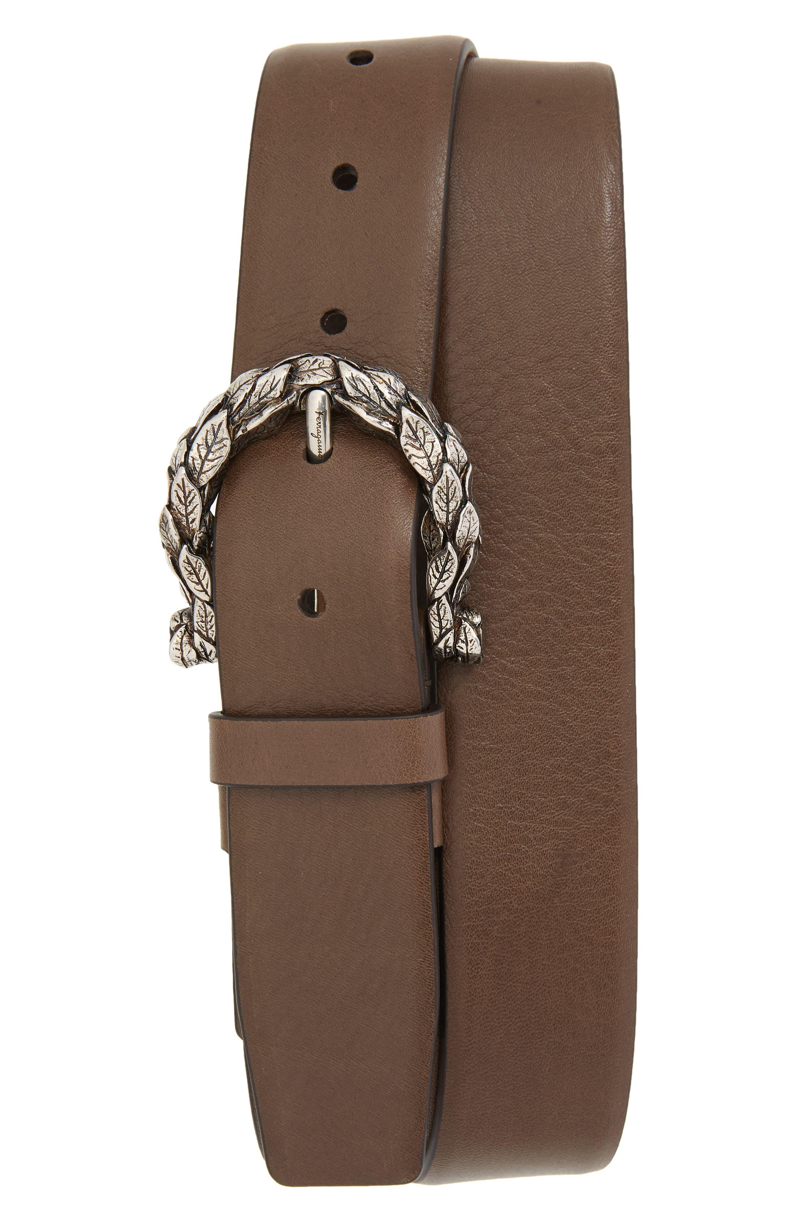 Gancio Leaf Buckle Leather Belt,                         Main,                         color, Sepia