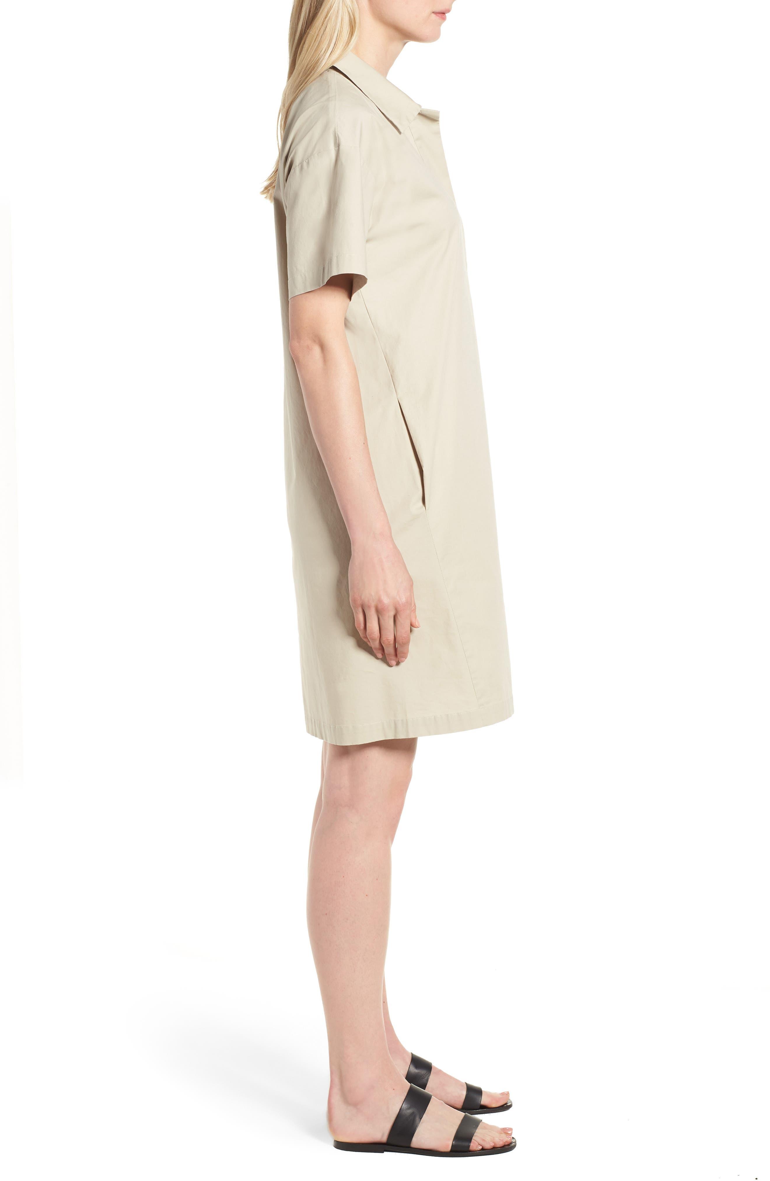Organic Cotton Poplin Shirtdress,                             Alternate thumbnail 3, color,                             Pebble