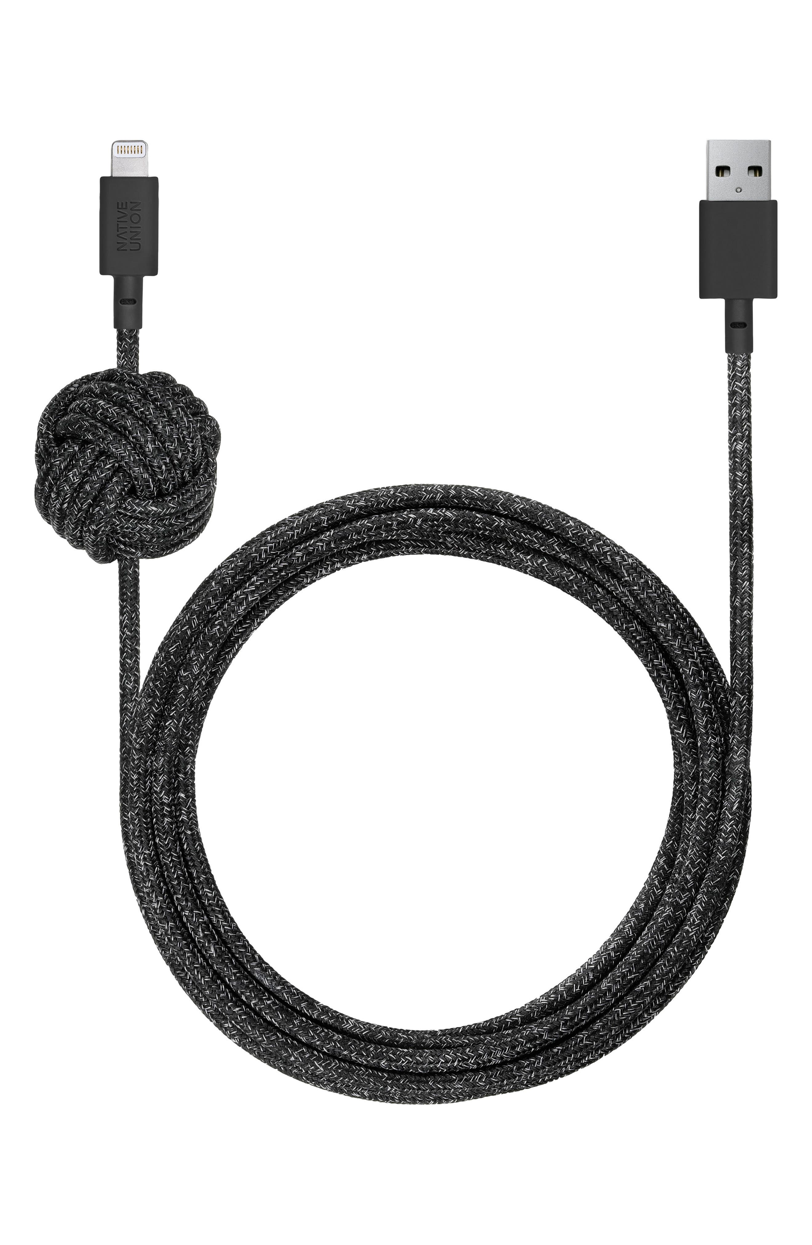 Night Lightning to USB Charging Cable,                         Main,                         color, Black And White
