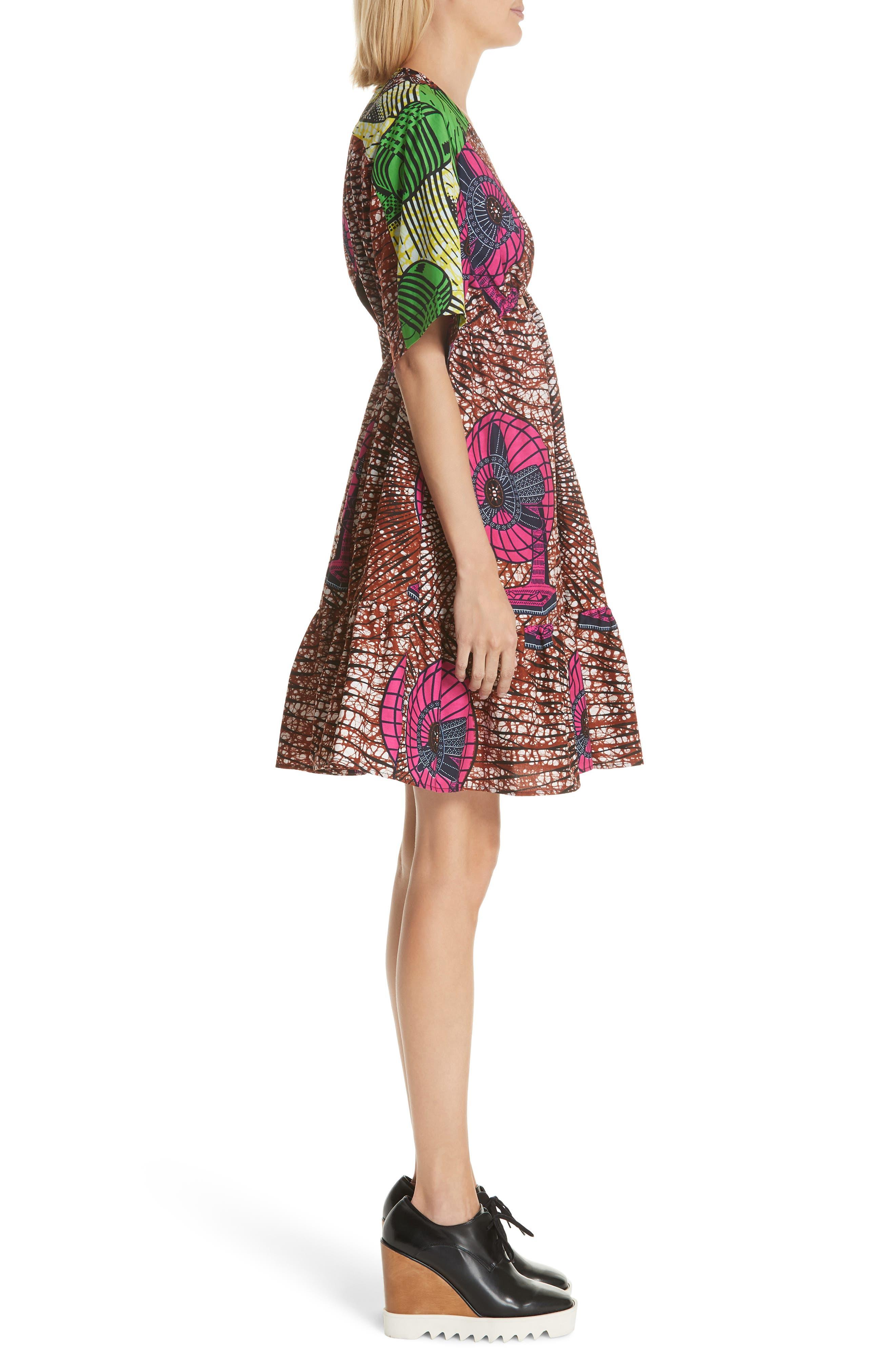 Print Cotton Dress,                             Alternate thumbnail 3, color,                             Dutch Fan Print