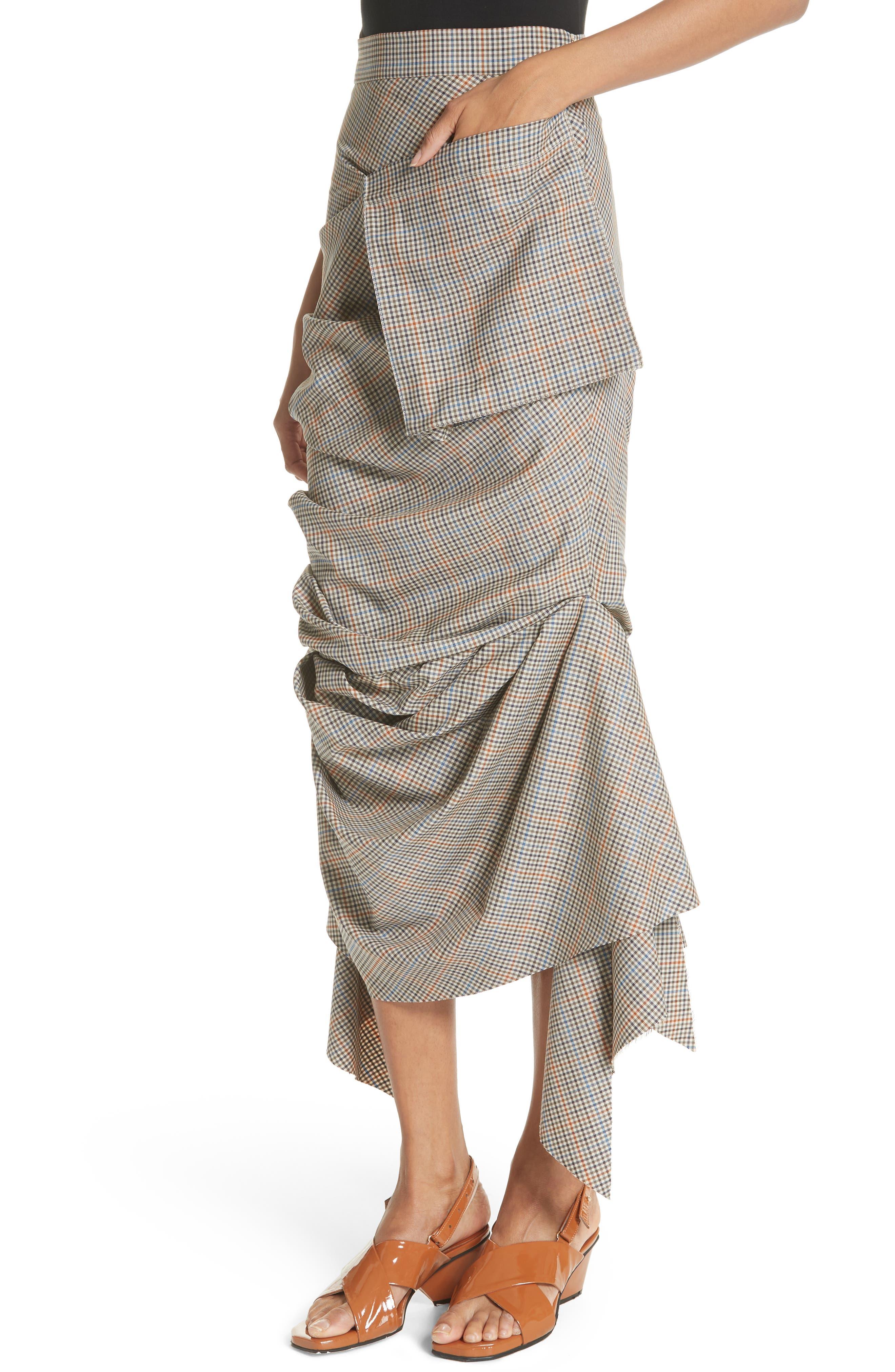 Draped Plaid Wool Skirt,                             Alternate thumbnail 4, color,                             Plaid