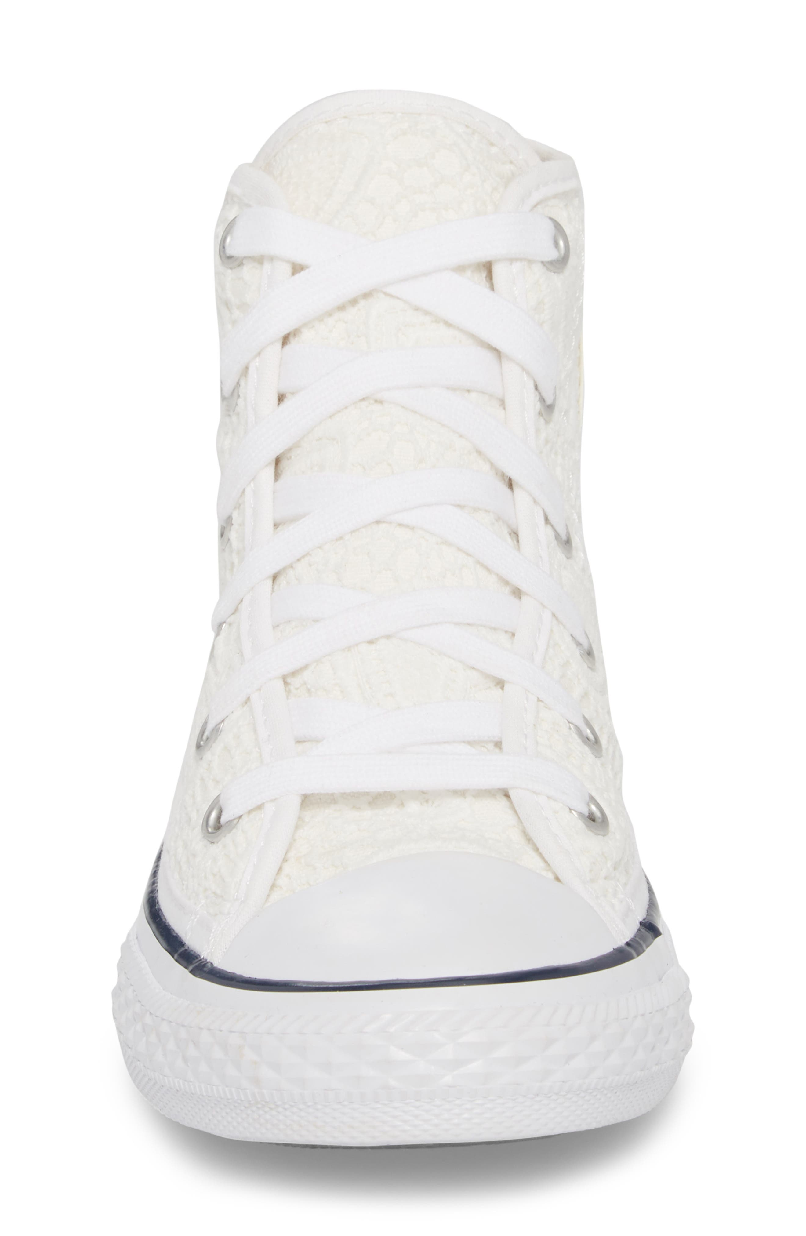 Chuck Taylor<sup>®</sup> All Star<sup>®</sup> Crochet High Top Sneaker,                             Alternate thumbnail 4, color,                             White