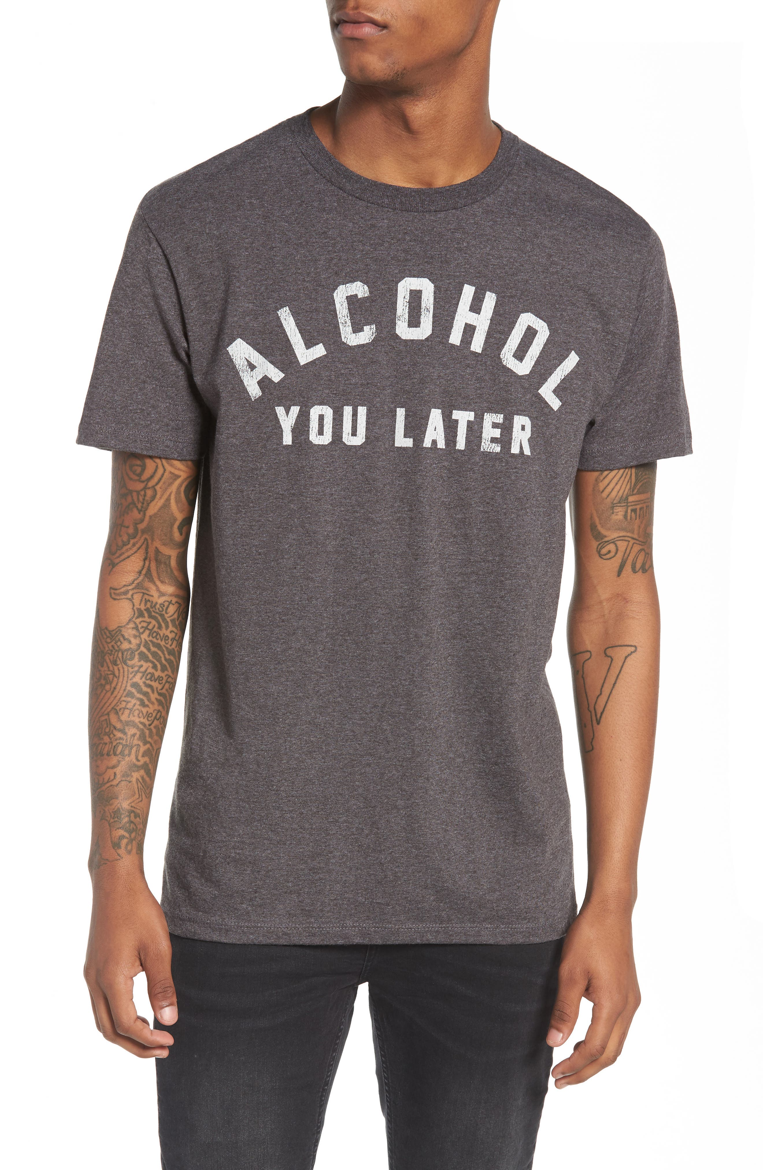 Alcohol You Later T-Shirt,                             Main thumbnail 1, color,                             Grey Charcoal Heather Alcohol