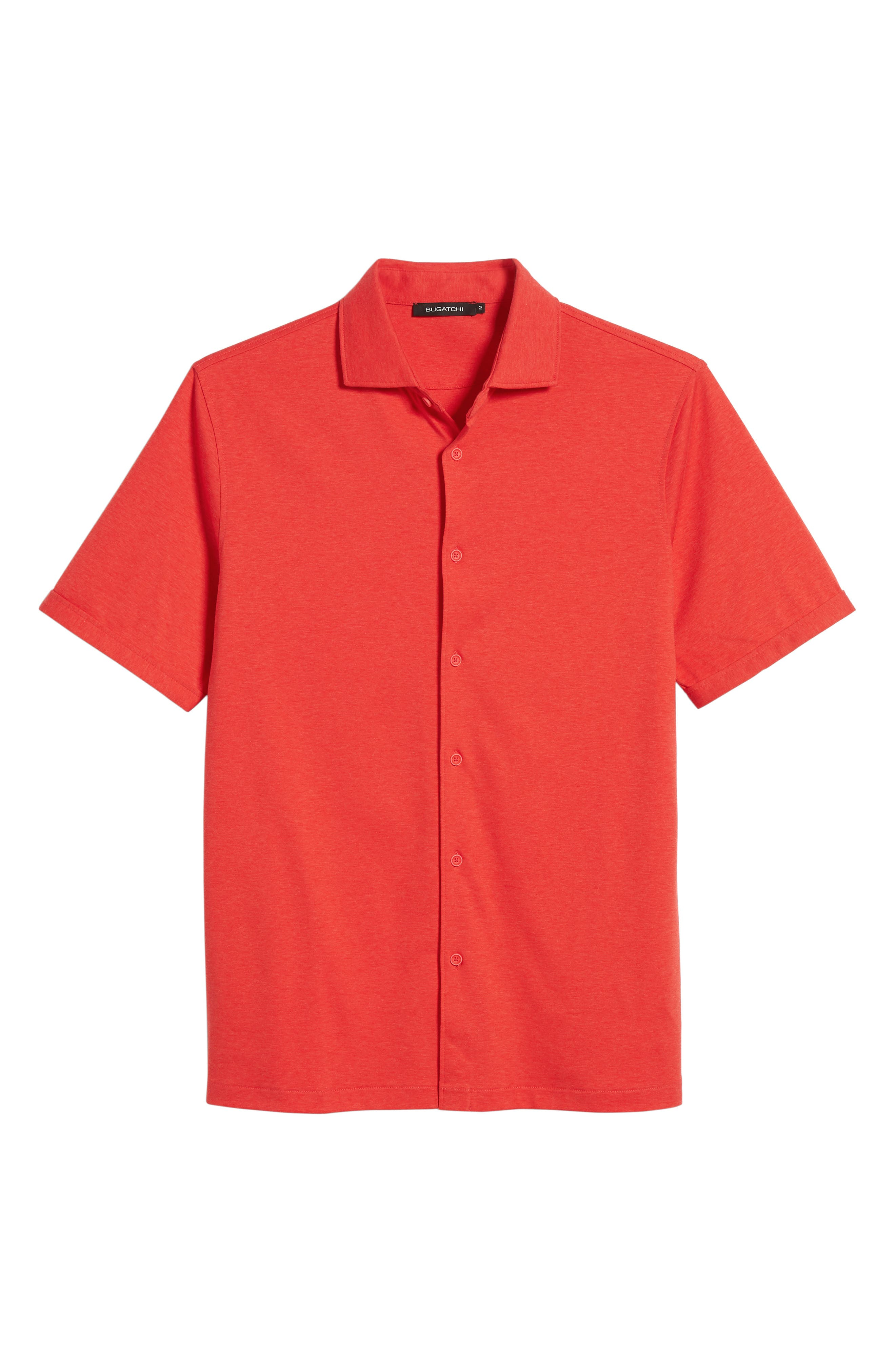 Trim Fit Heather Knit Sport Shirt,                             Alternate thumbnail 6, color,                             Cherry