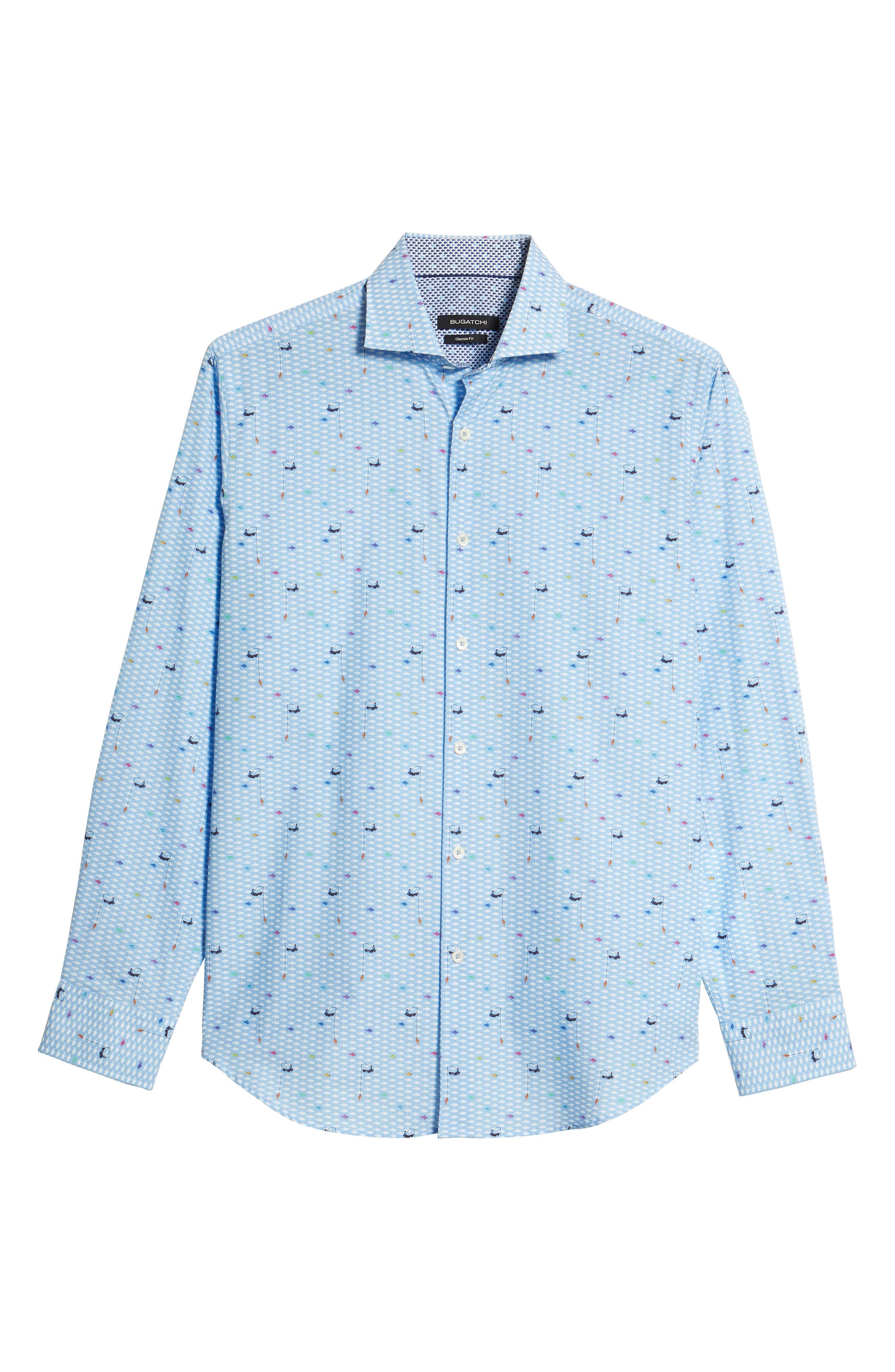 Classic Fit Fisherman Print Sport Shirt,                             Alternate thumbnail 6, color,                             Air Blue