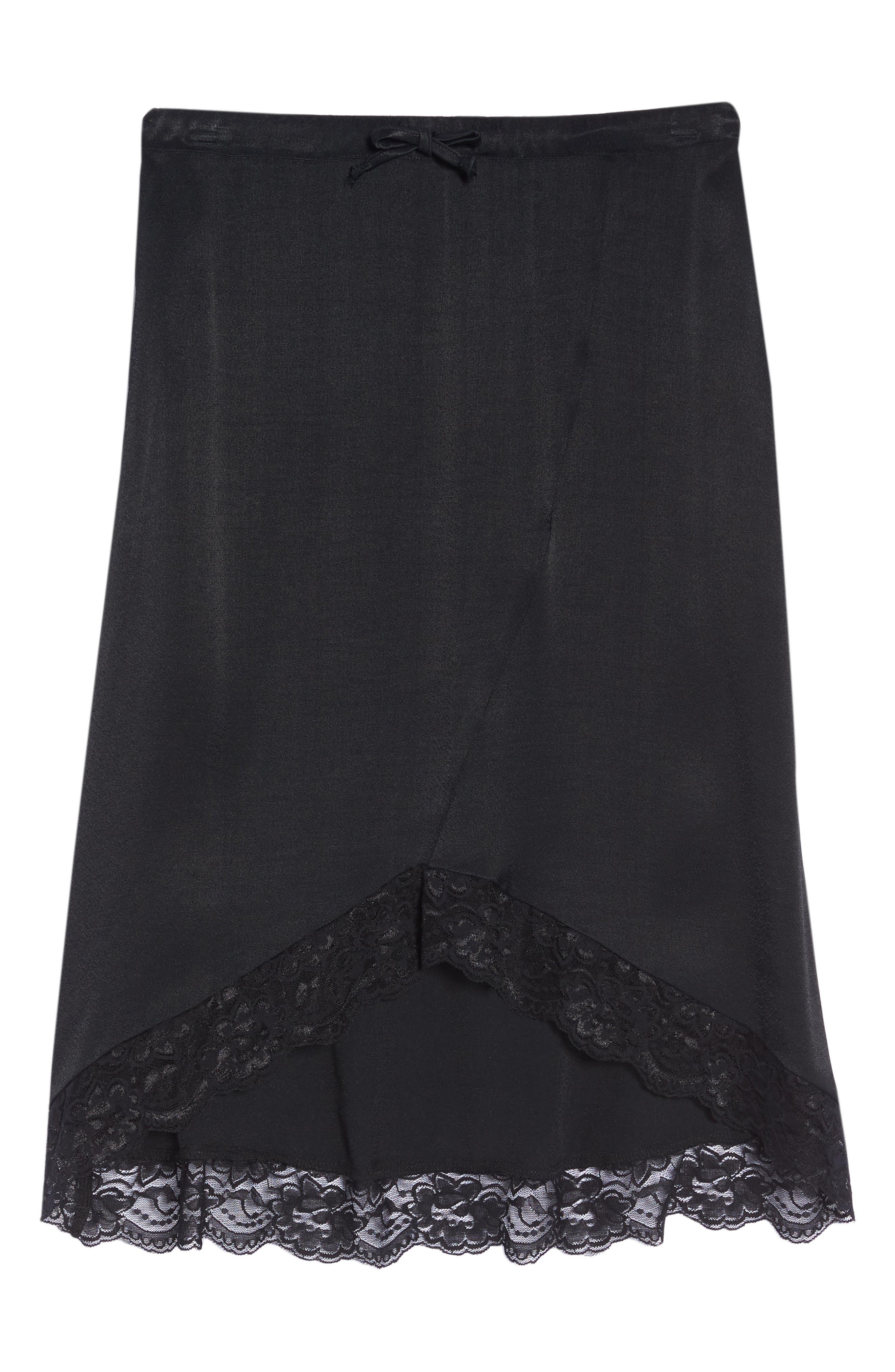 Lace Trim Slip Skirt,                             Alternate thumbnail 4, color,                             Black