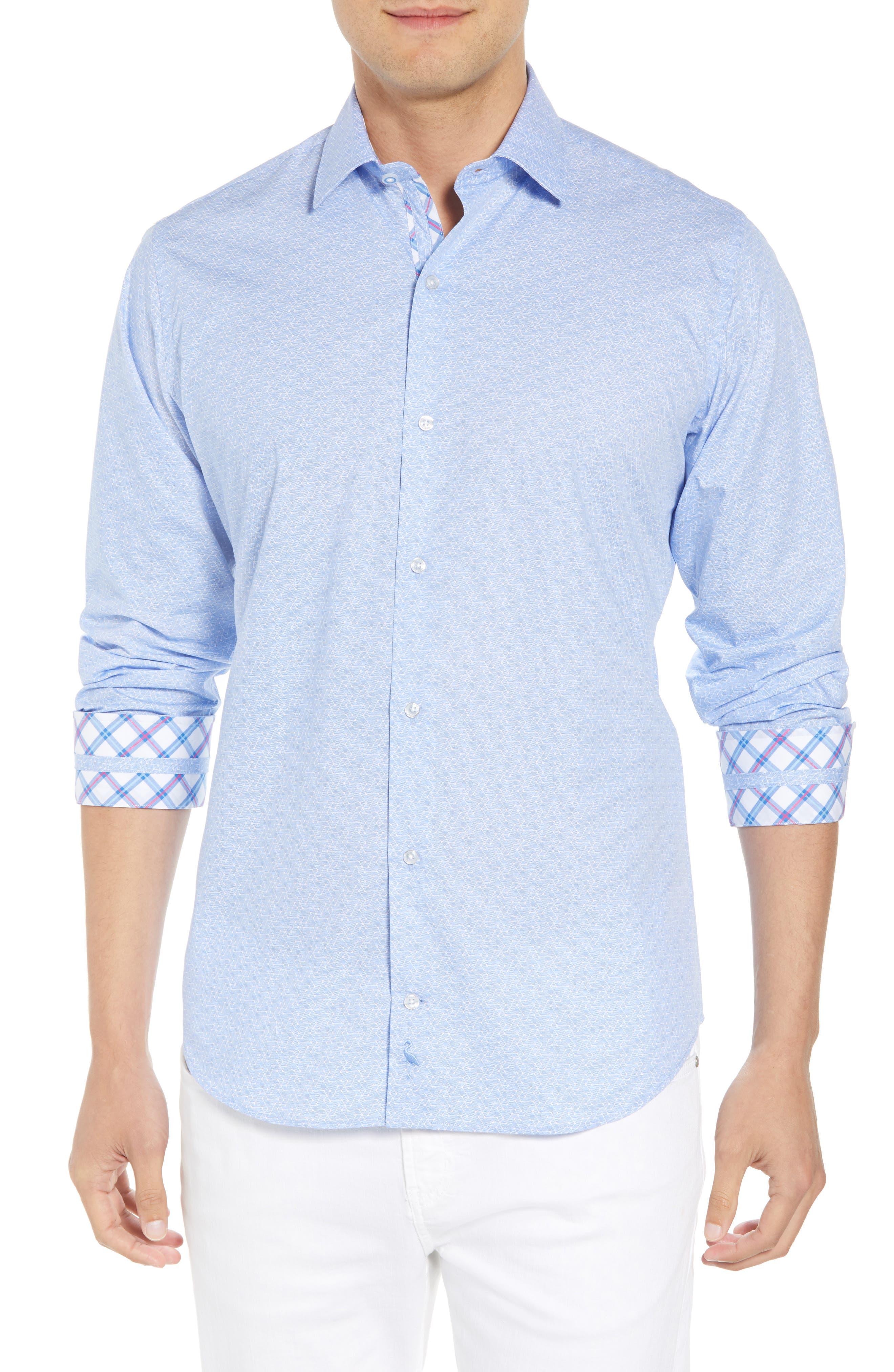 Beckham Regular Fit Plaid Sport Shirt,                         Main,                         color, Light Blue