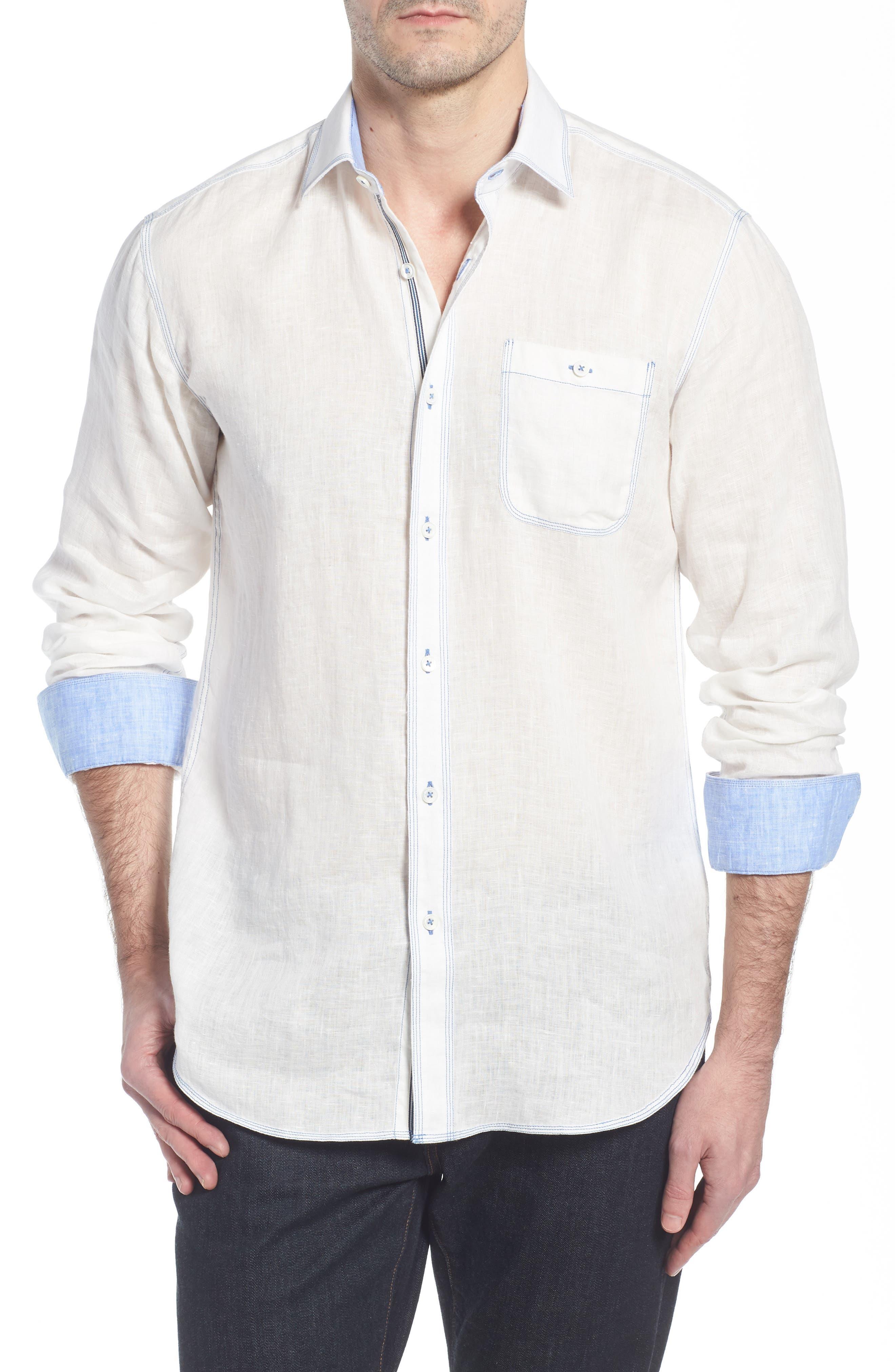 Shaped Fit Linen Sport Shirt,                             Main thumbnail 1, color,                             White