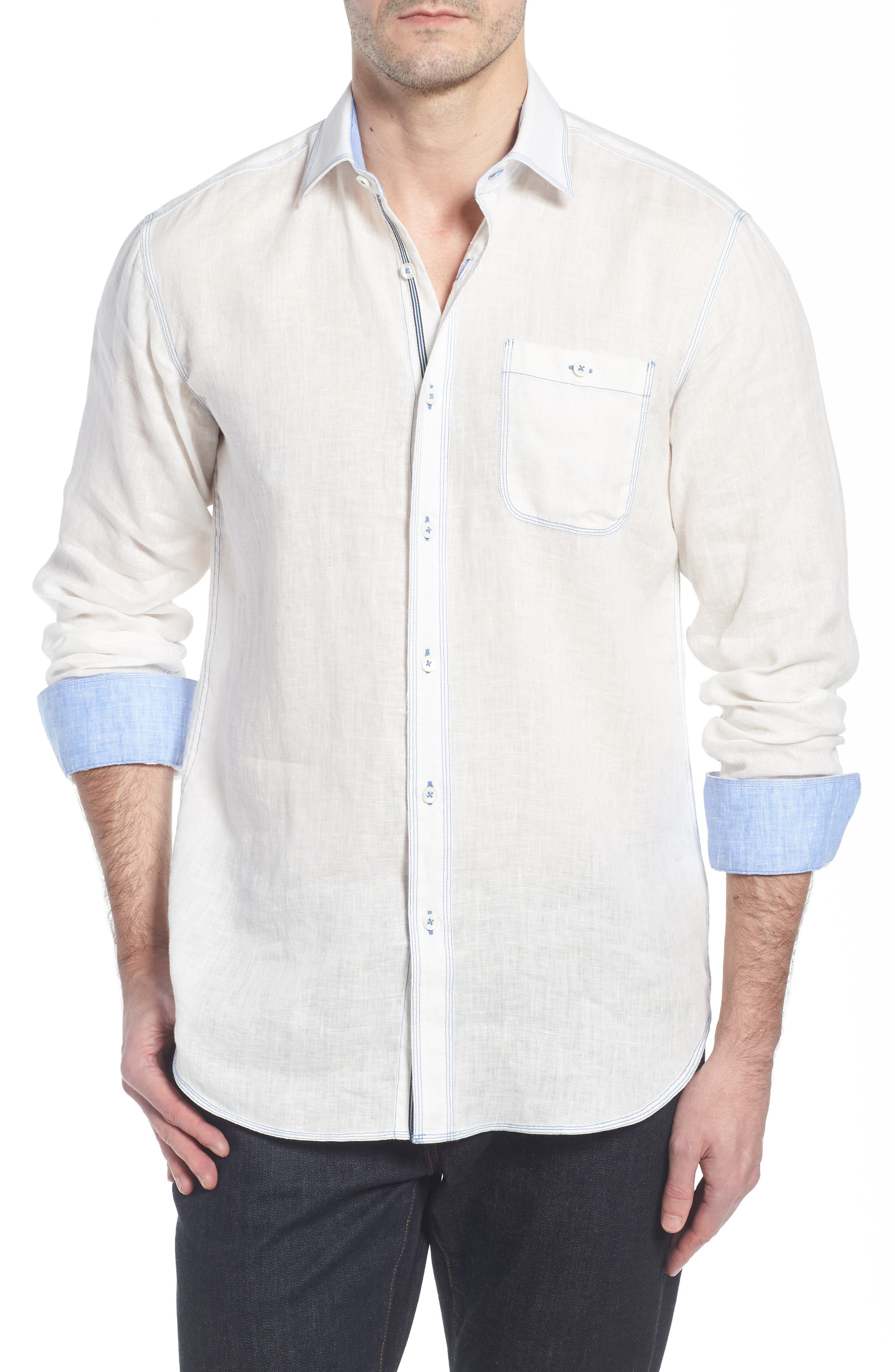 Shaped Fit Linen Sport Shirt,                         Main,                         color, White