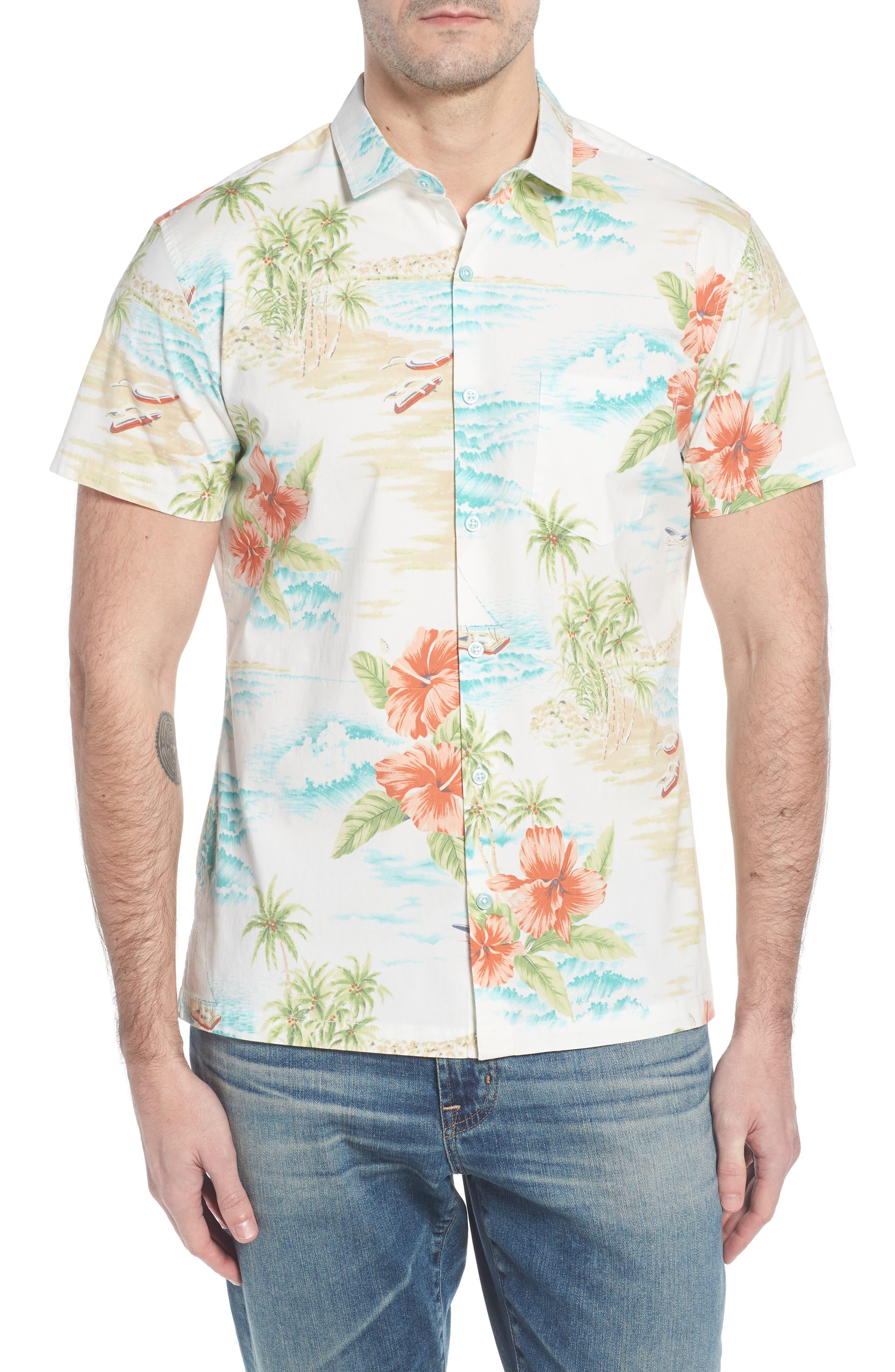 Rest Ashored Trim Fit Camp Shirt,                             Main thumbnail 1, color,                             White