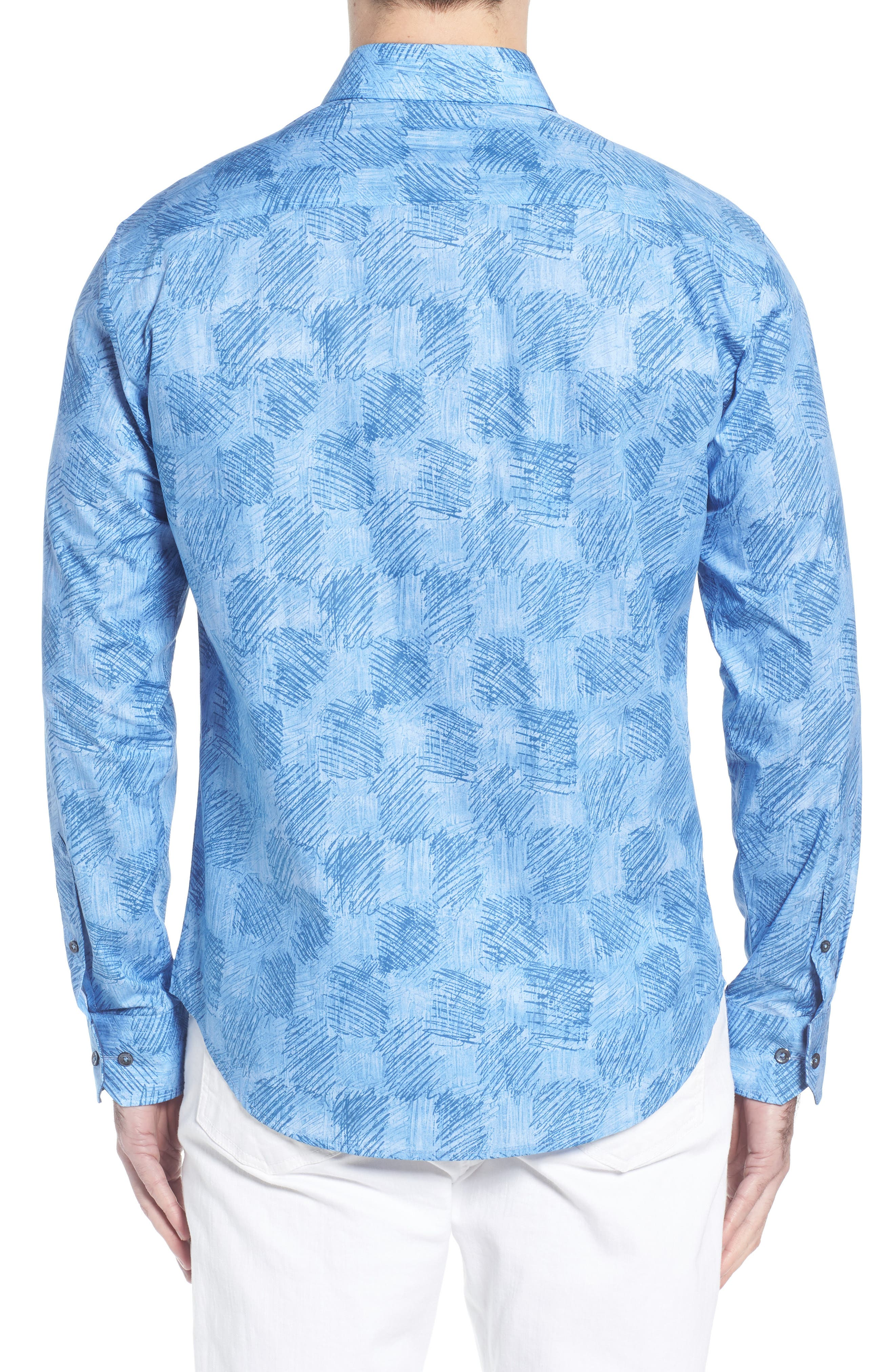 Shaped Fit Abstract Check Sport Shirt,                             Alternate thumbnail 3, color,                             Air Blue