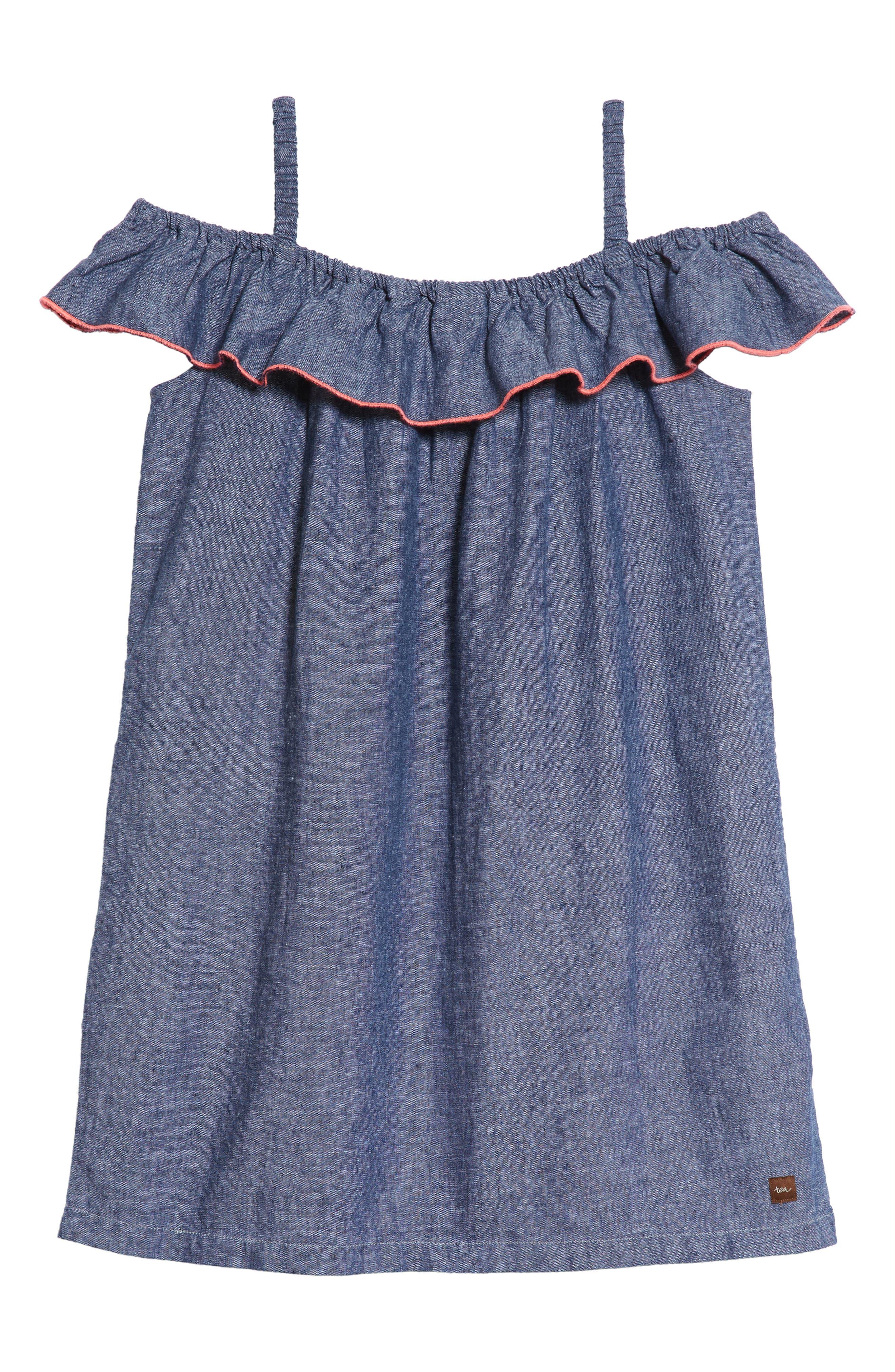 Chambray Ruffle Neck Dress,                             Alternate thumbnail 2, color,                             Indigo