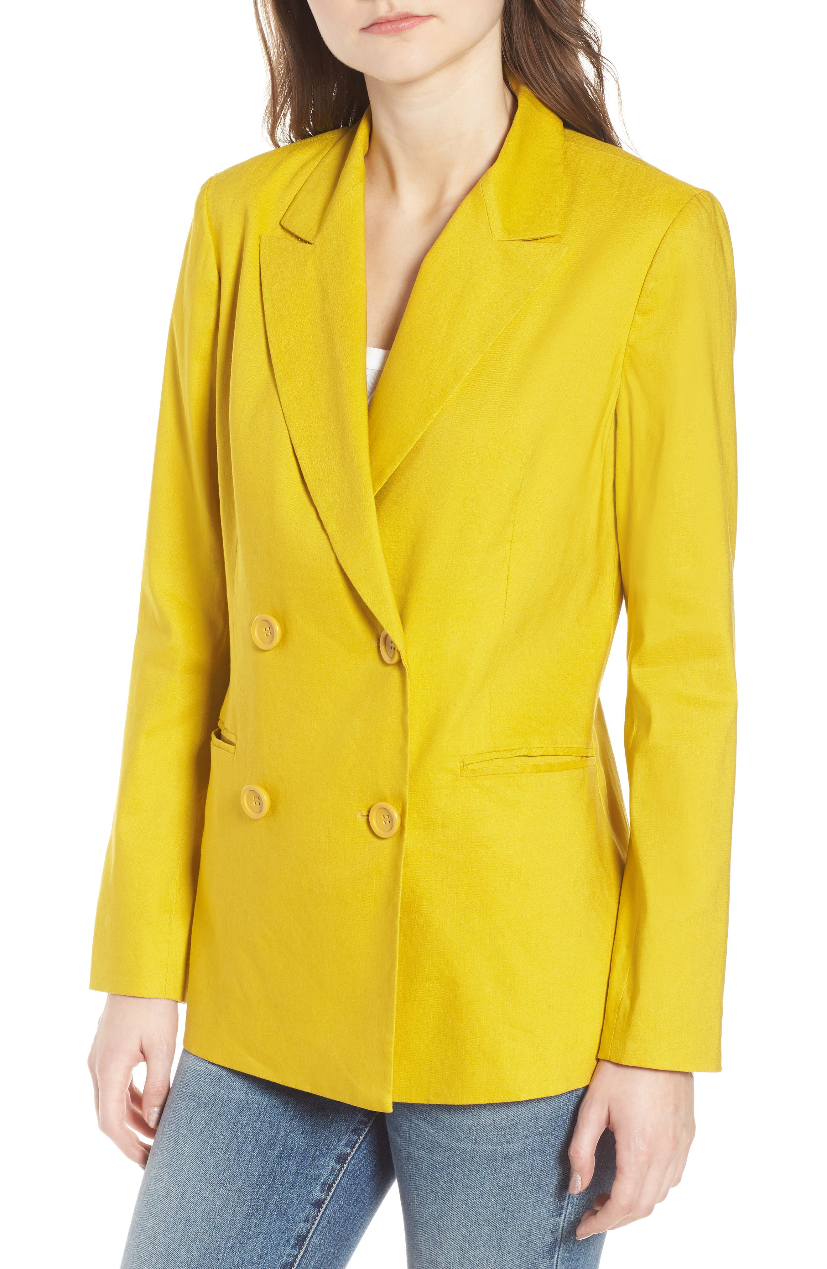 Double Breasted Linen Blend Blazer,                             Alternate thumbnail 4, color,                             Yellow Tea