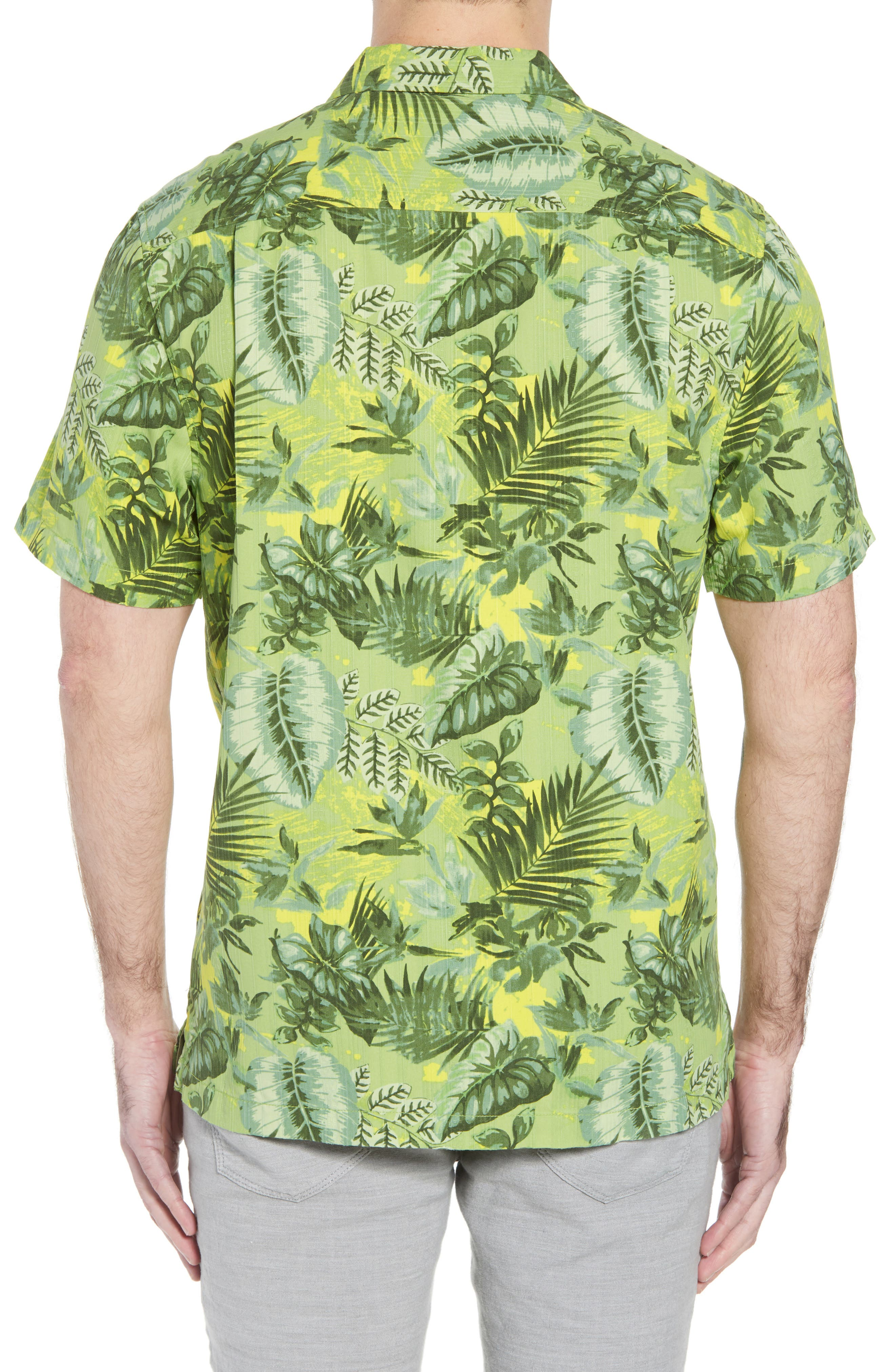 Selva Shores Silk Blend Performance Camp Shirt,                             Alternate thumbnail 3, color,                             Jasmine Green