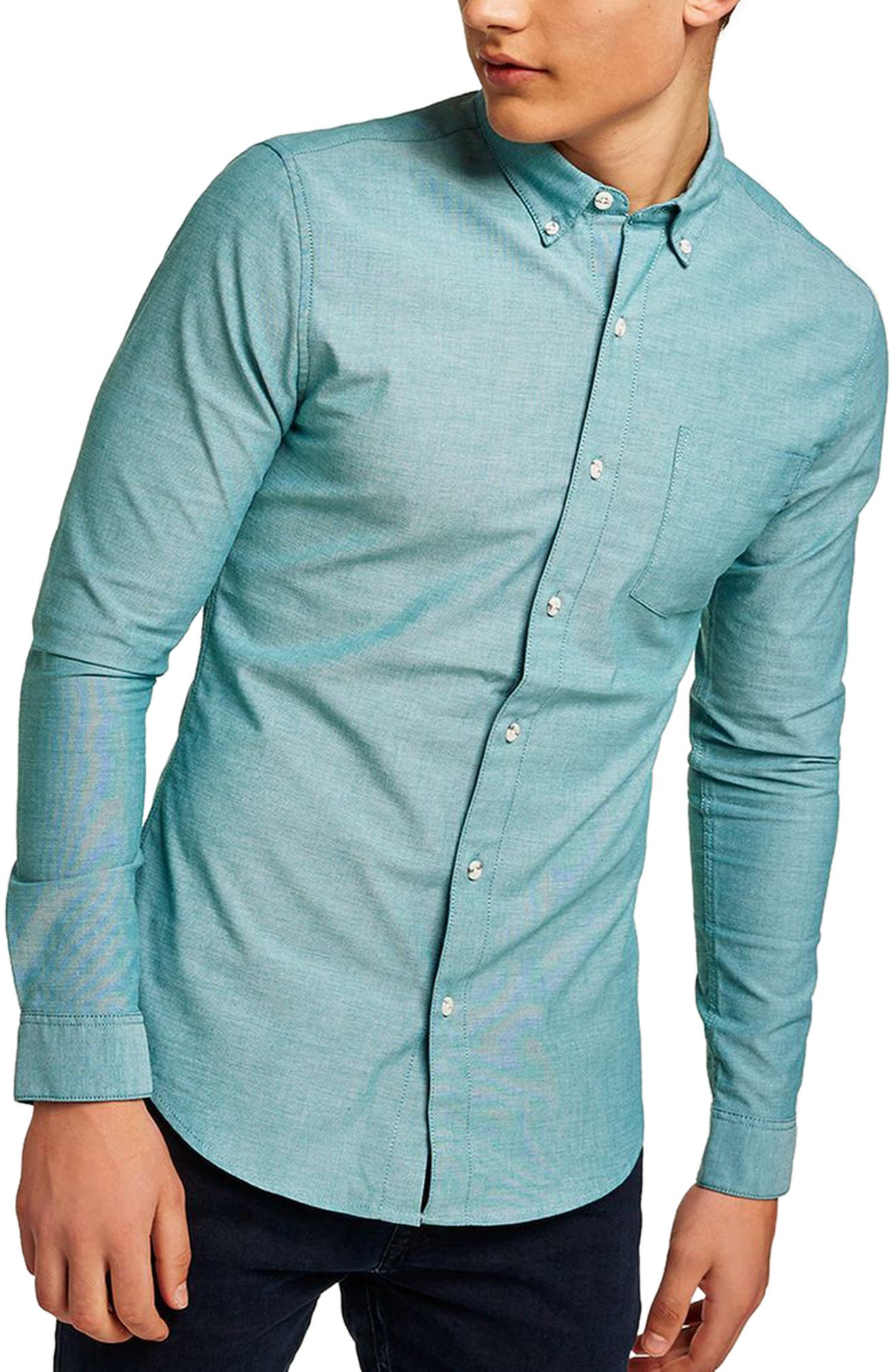 Muscle Fit Oxford Shirt,                         Main,                         color, Blue