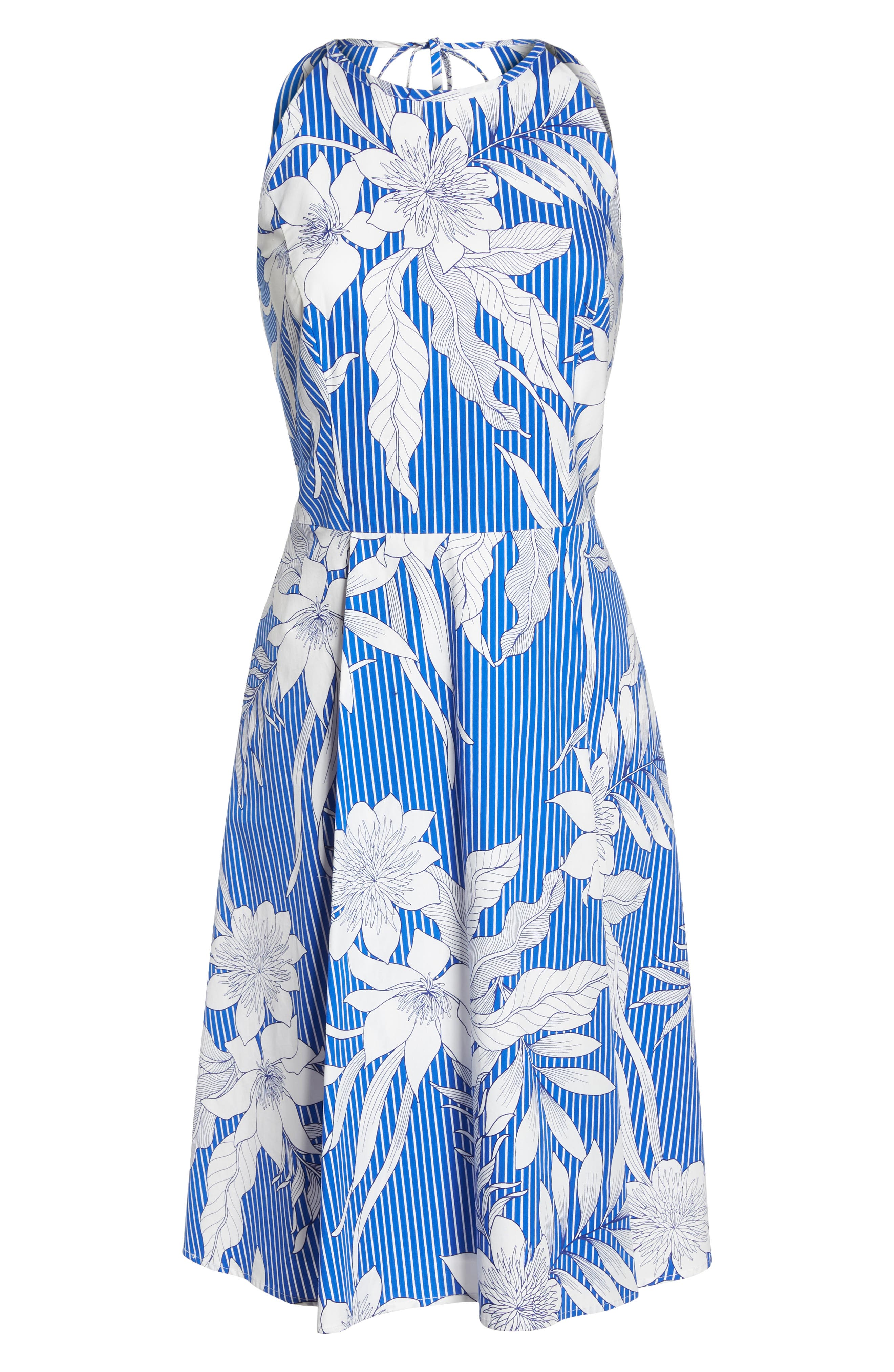 Print Poplin Fit & Flare Dress,                             Alternate thumbnail 7, color,                             Soft White/ Blue
