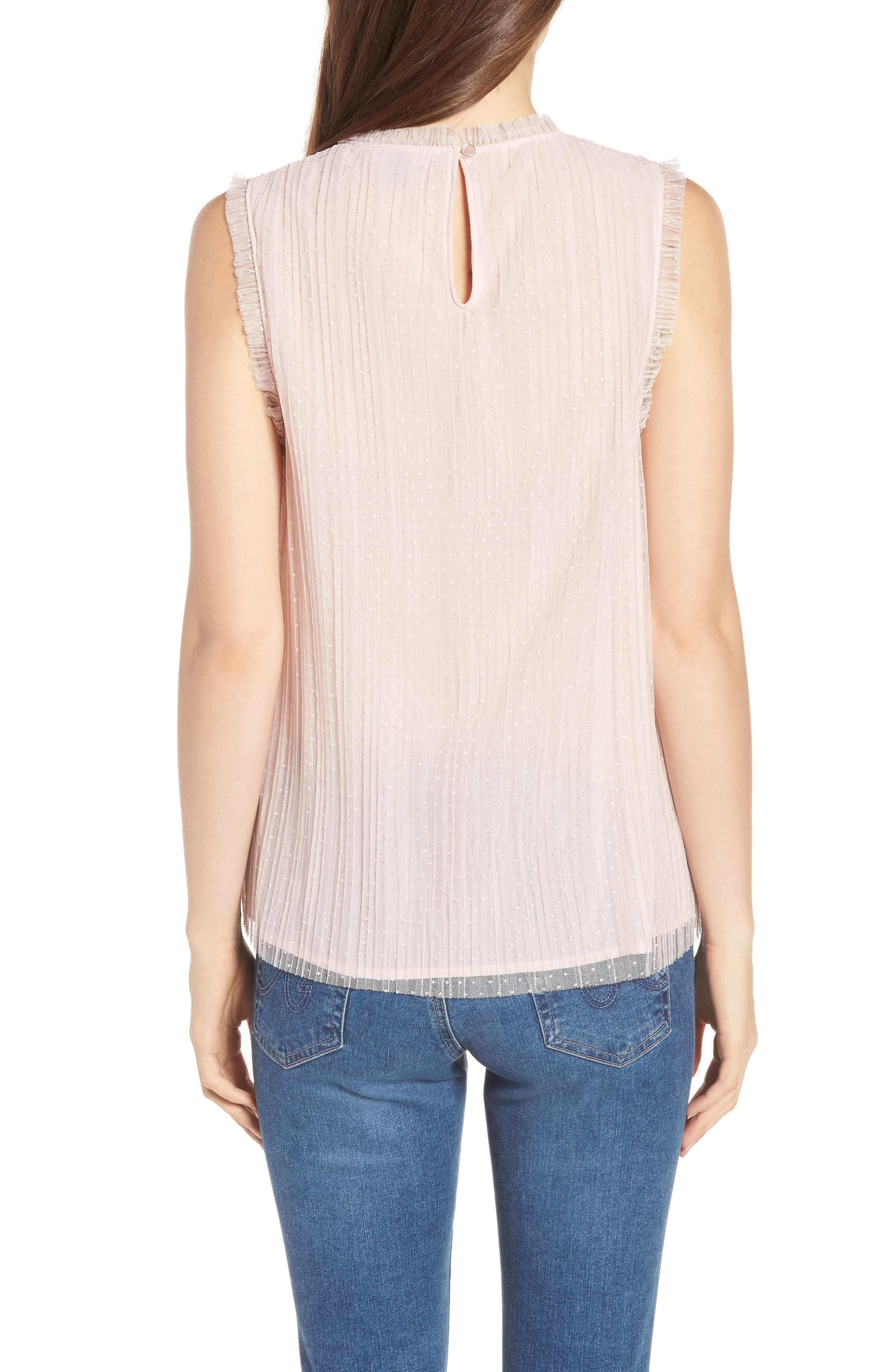 Dotted Mesh Top,                             Alternate thumbnail 2, color,                             Pink Peach