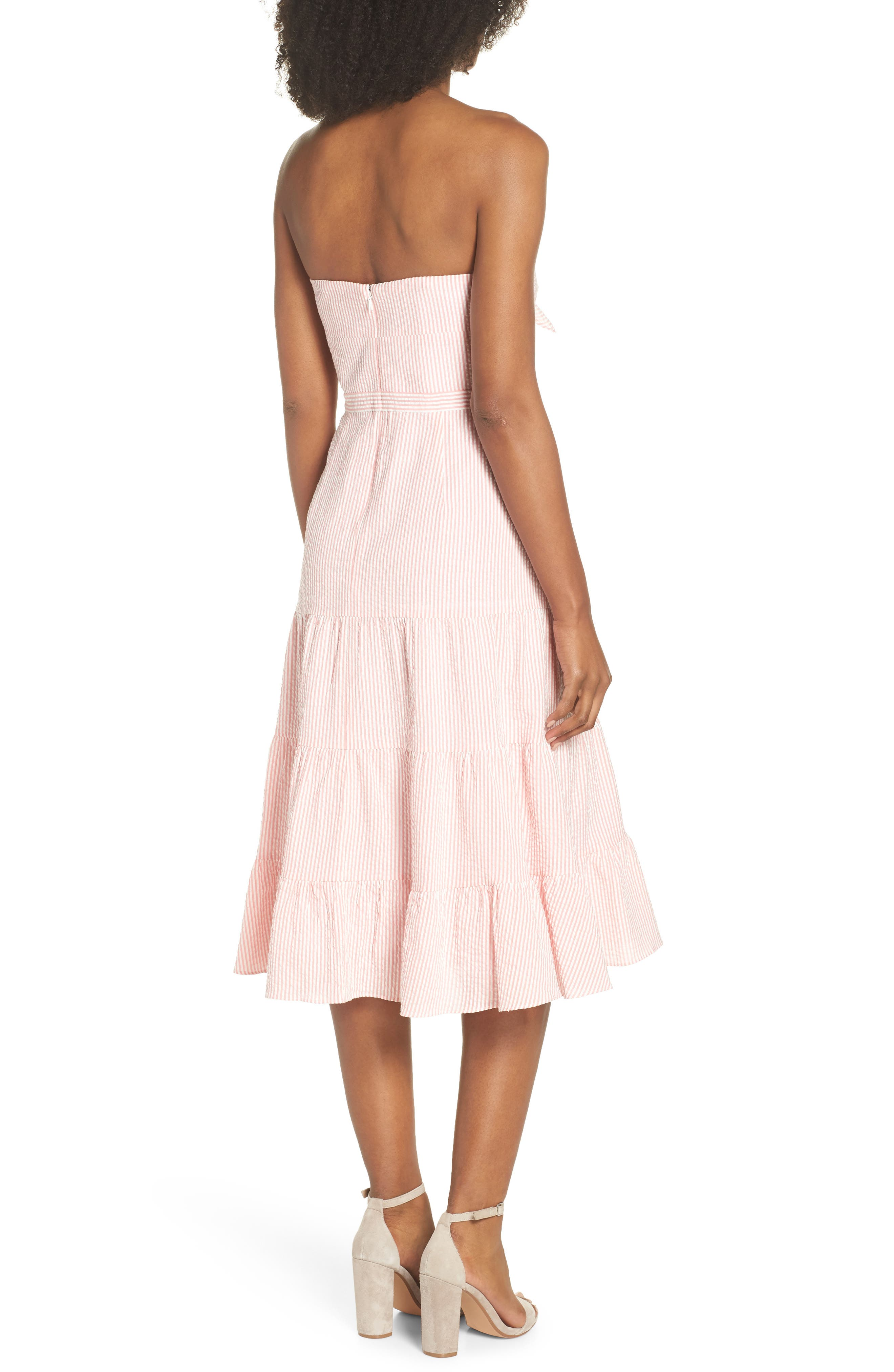 J.Crew Tie Front Strapless Dress,                             Alternate thumbnail 2, color,                             Bright Coral