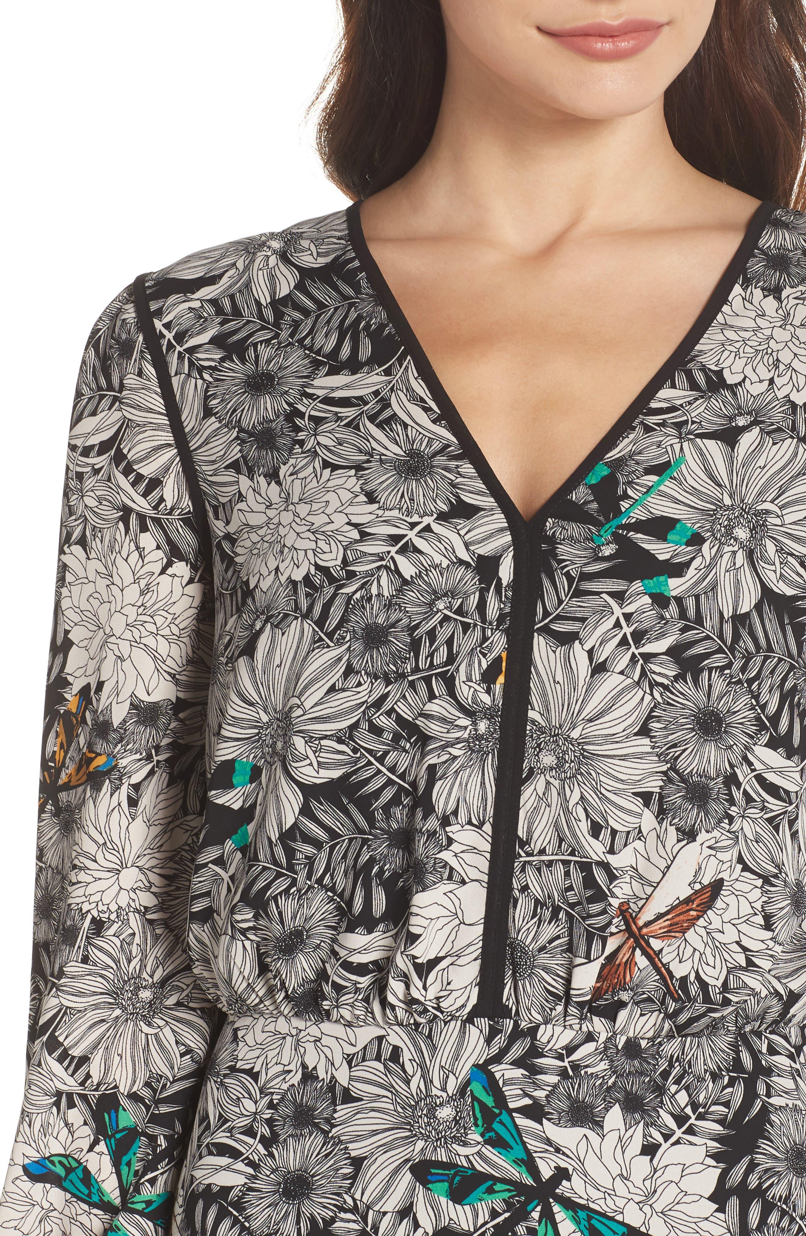 Print Blouson Dress,                             Alternate thumbnail 4, color,                             Black Multi