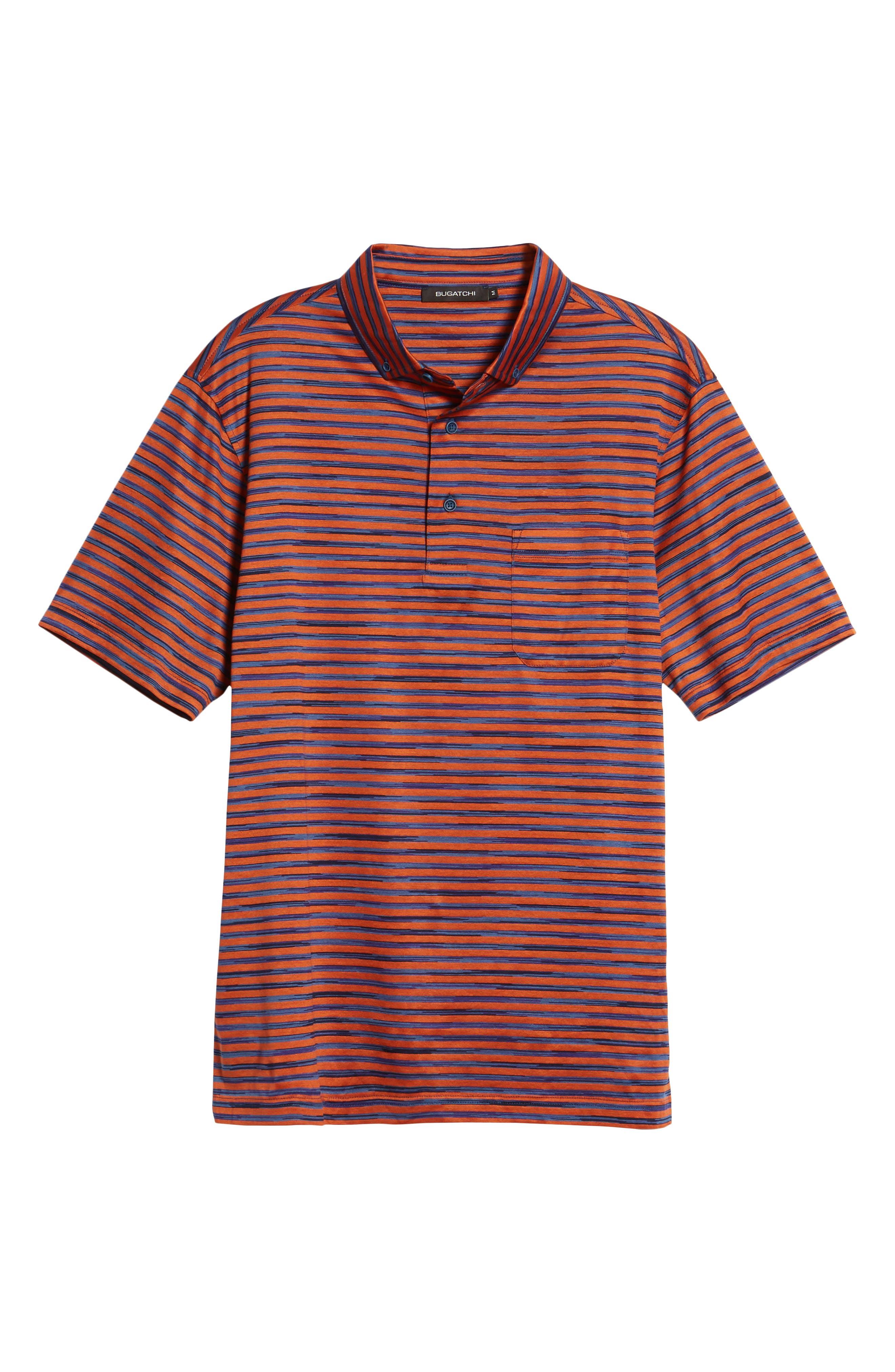 Stripe Knit Polo,                             Alternate thumbnail 6, color,                             Tangerine