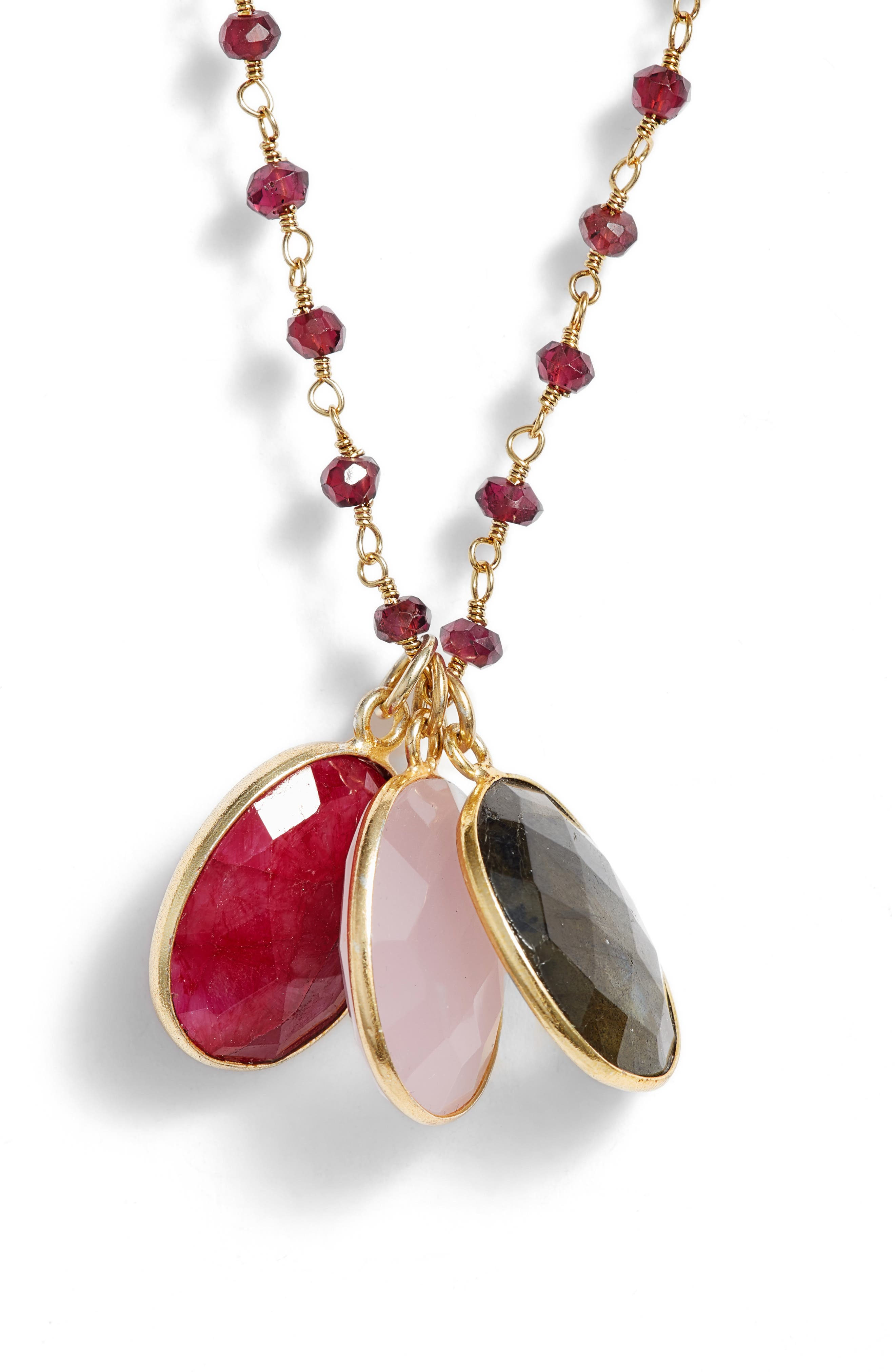 Grenada 3-Stone Necklace,                             Alternate thumbnail 2, color,                             Garnet