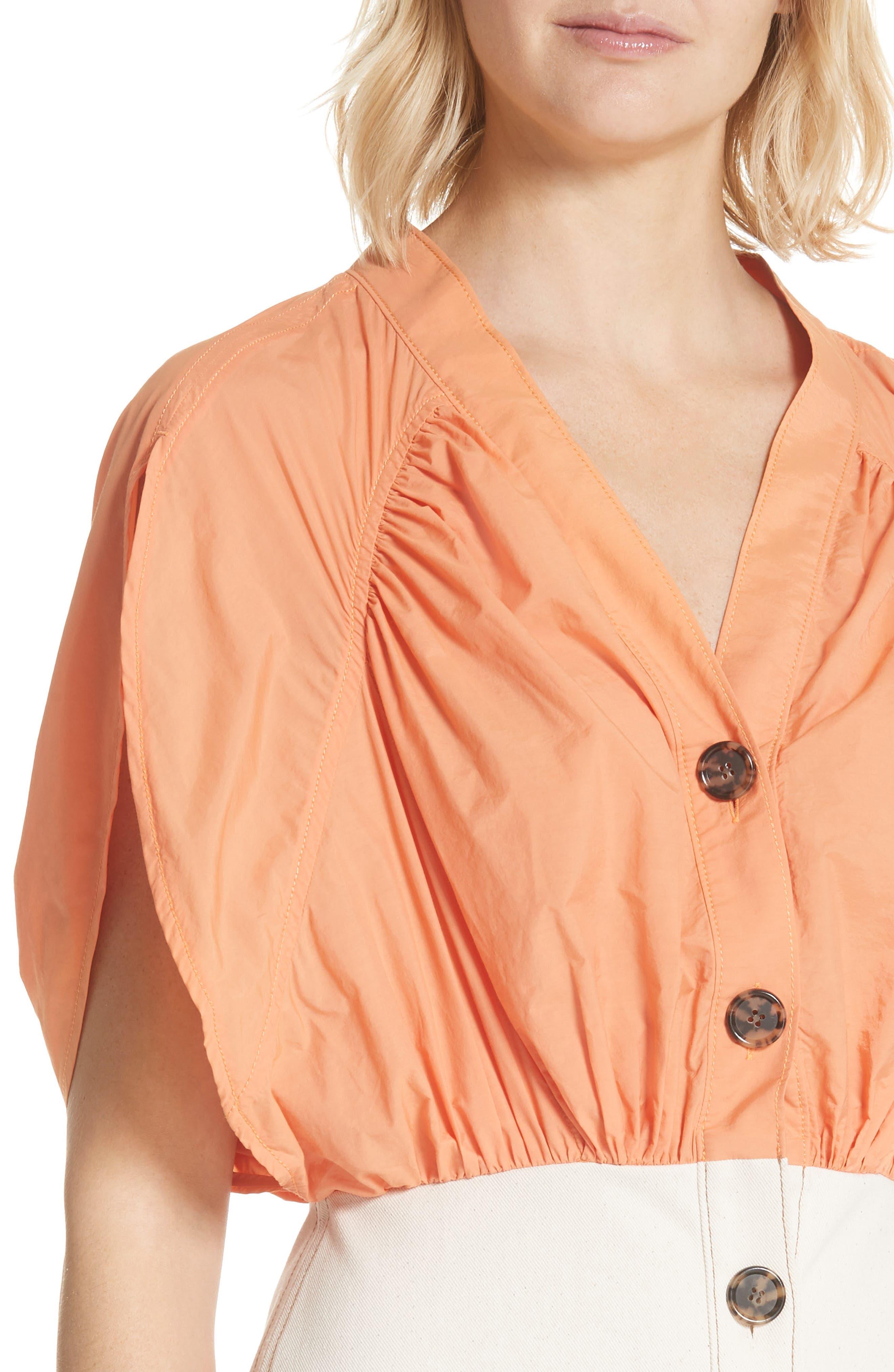 Yana Bicolor Dress,                             Alternate thumbnail 4, color,                             Cotton Orange/ Denim Ecru