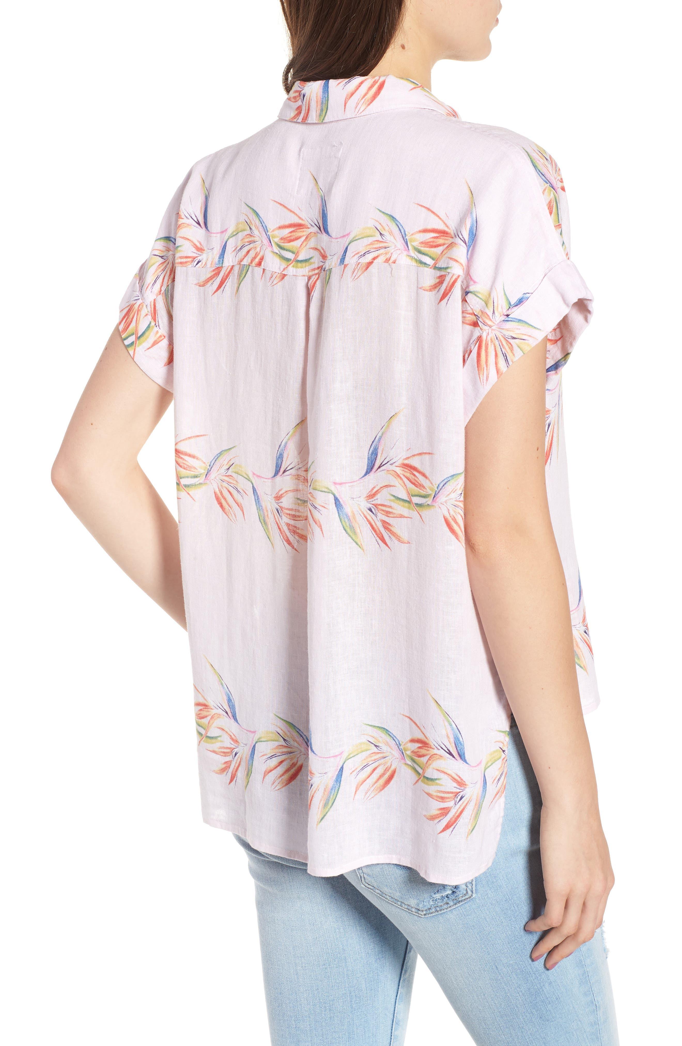 Whitney Print Shirt,                             Alternate thumbnail 2, color,                             Blush Birds Of Paradise