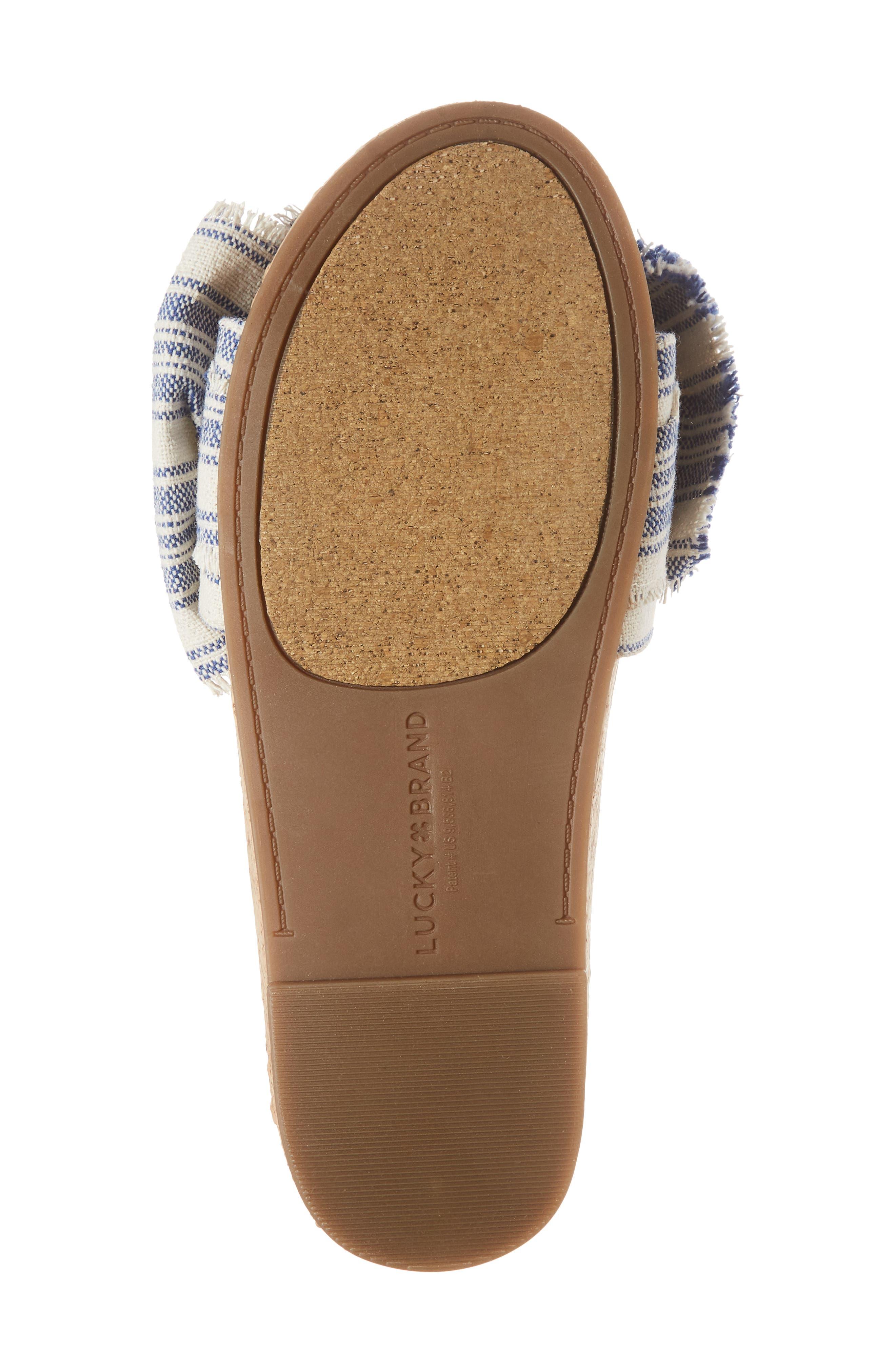 Floella Bow Slide Sandal,                             Alternate thumbnail 6, color,                             Lapis Leather