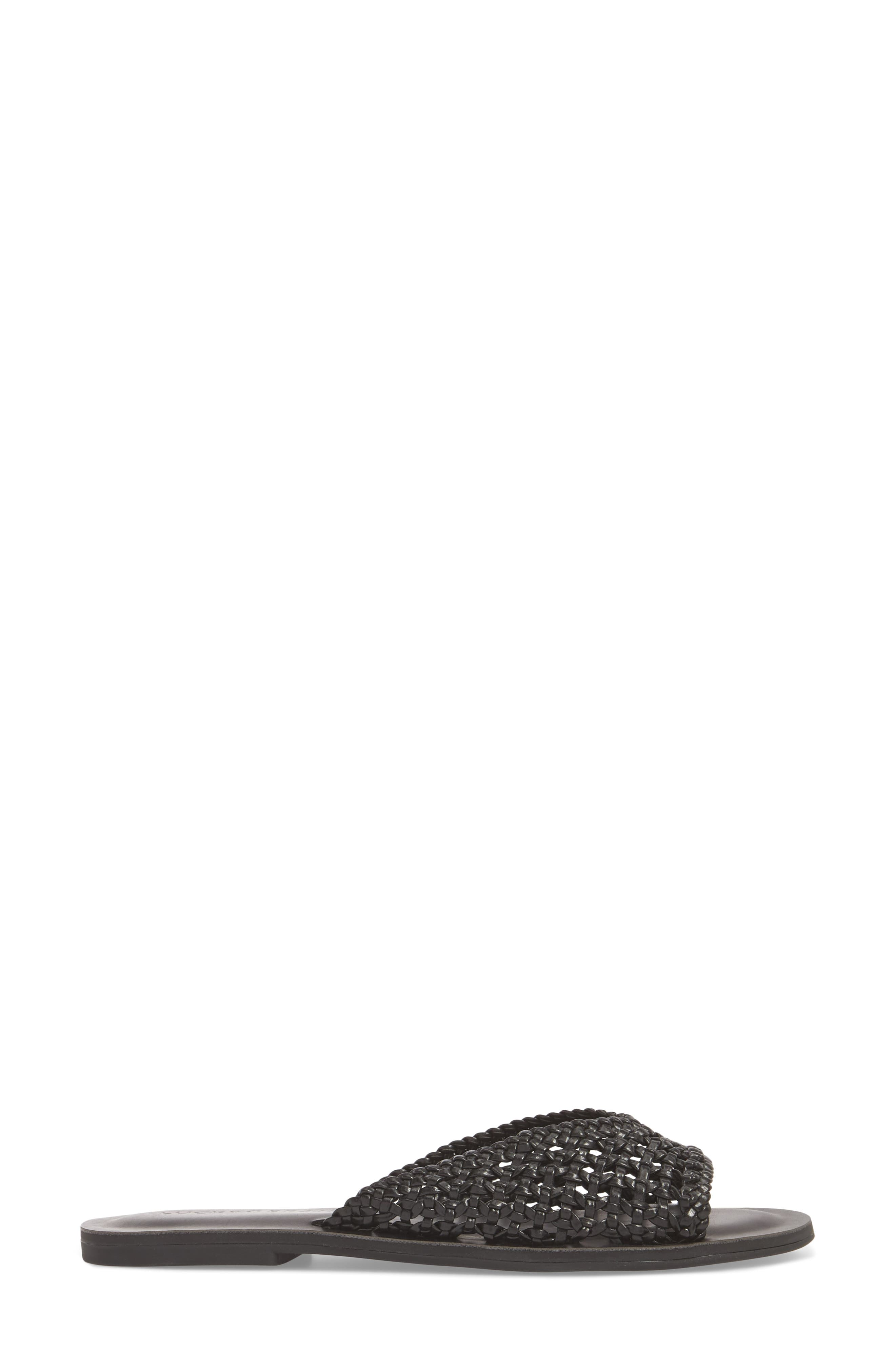 Adola Slide Sandal,                             Alternate thumbnail 3, color,                             Black Leather