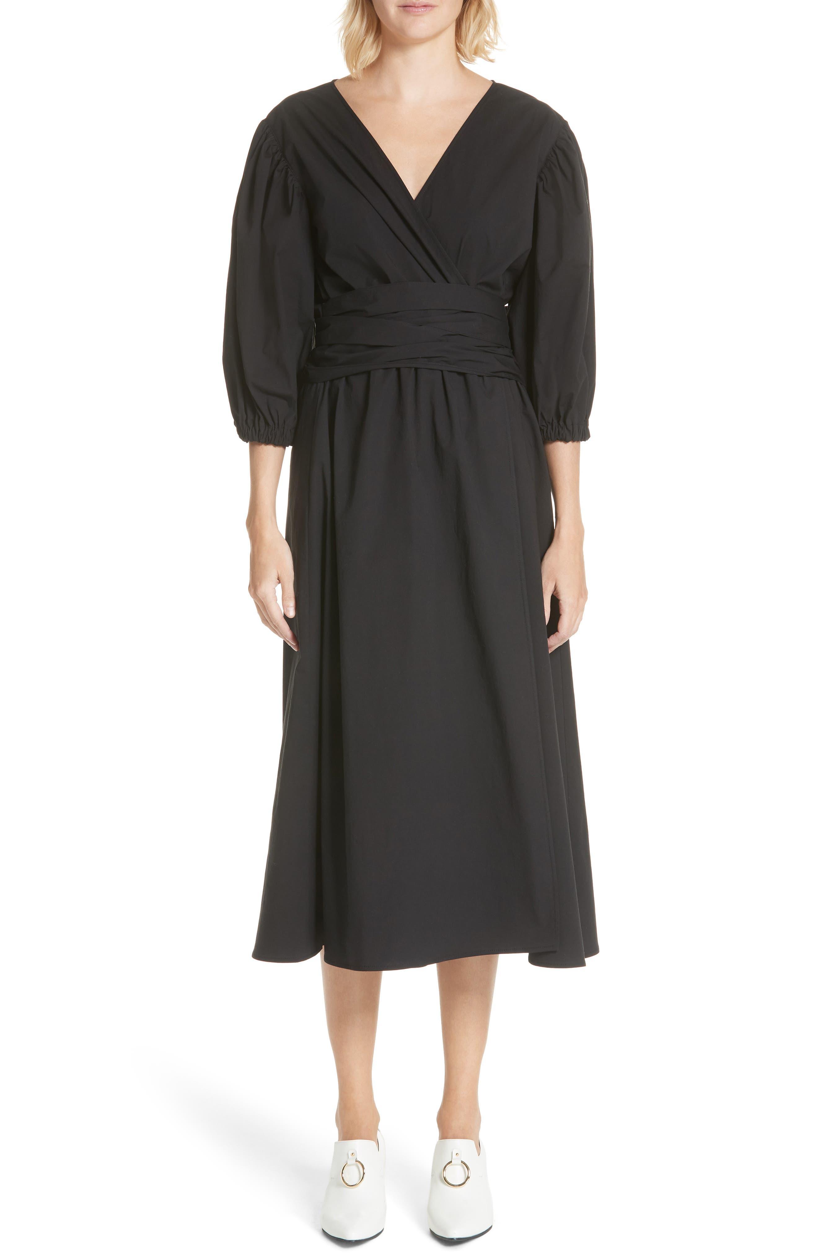 Miriam Wrap Dress,                         Main,                         color, Cotton Black