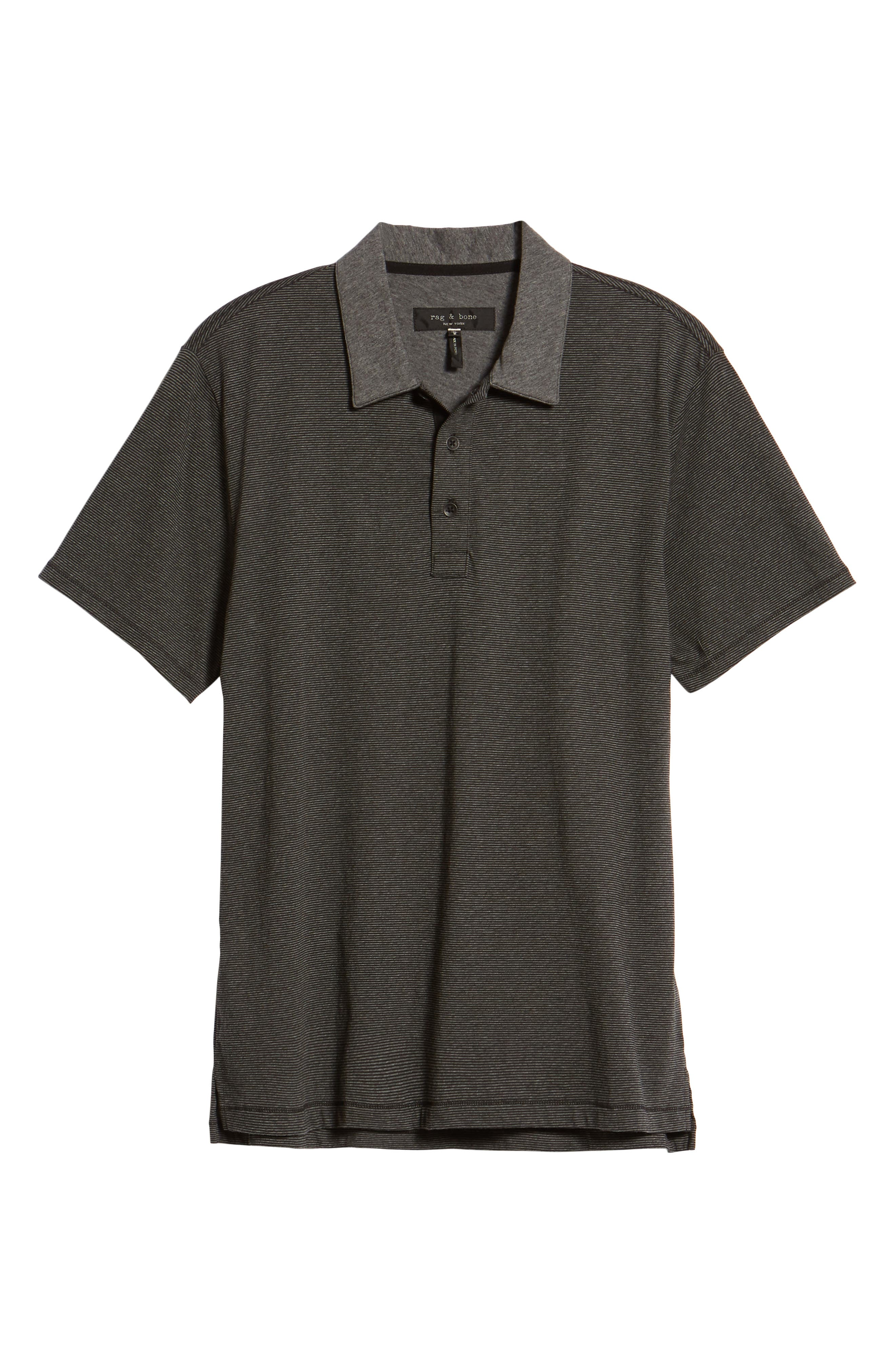 Stripe Cotton Polo Shirt,                             Alternate thumbnail 6, color,                             Charcoal/ Black
