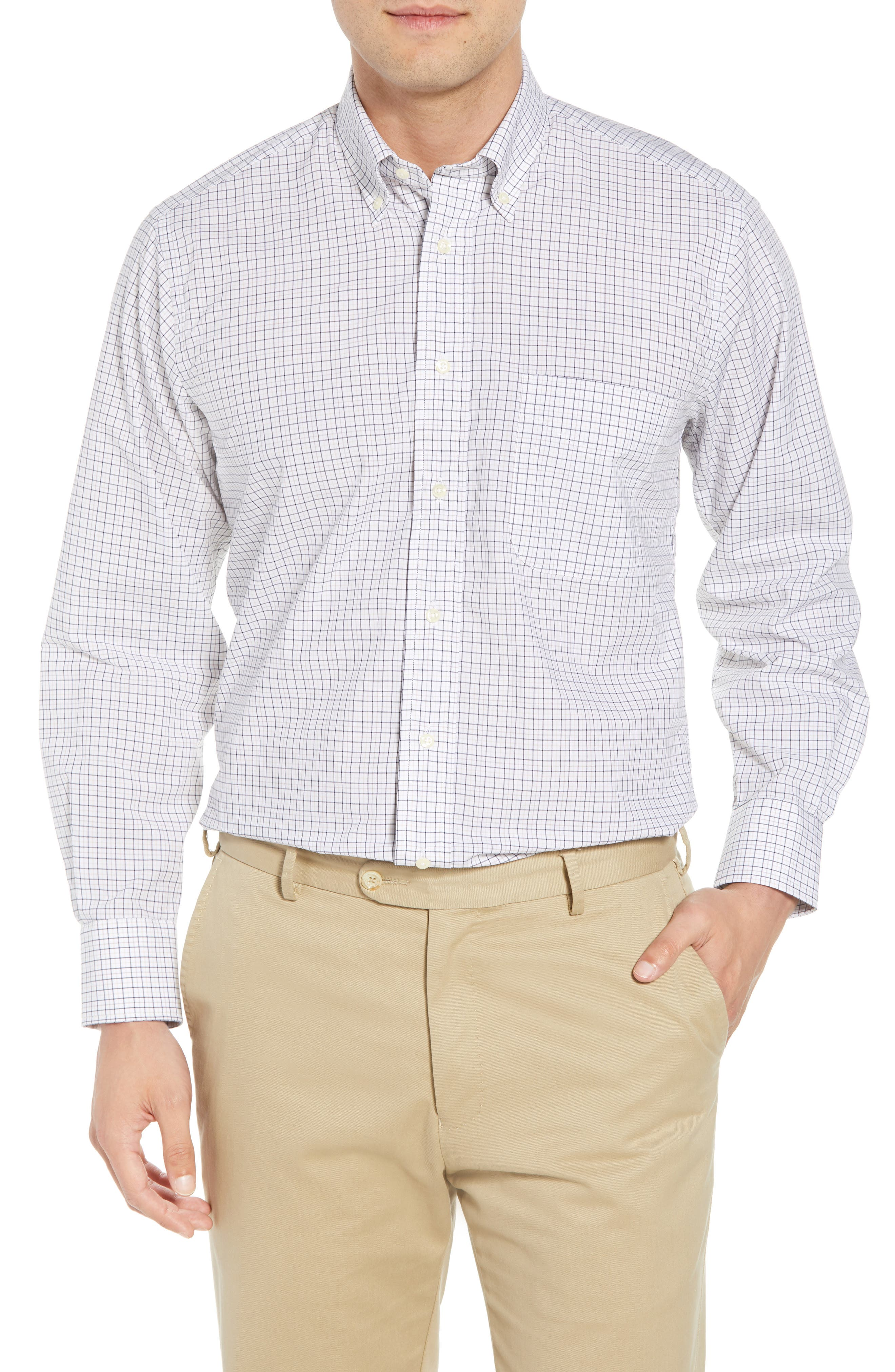 Tailored Fit Check Dress Shirt,                         Main,                         color, White/ Blue