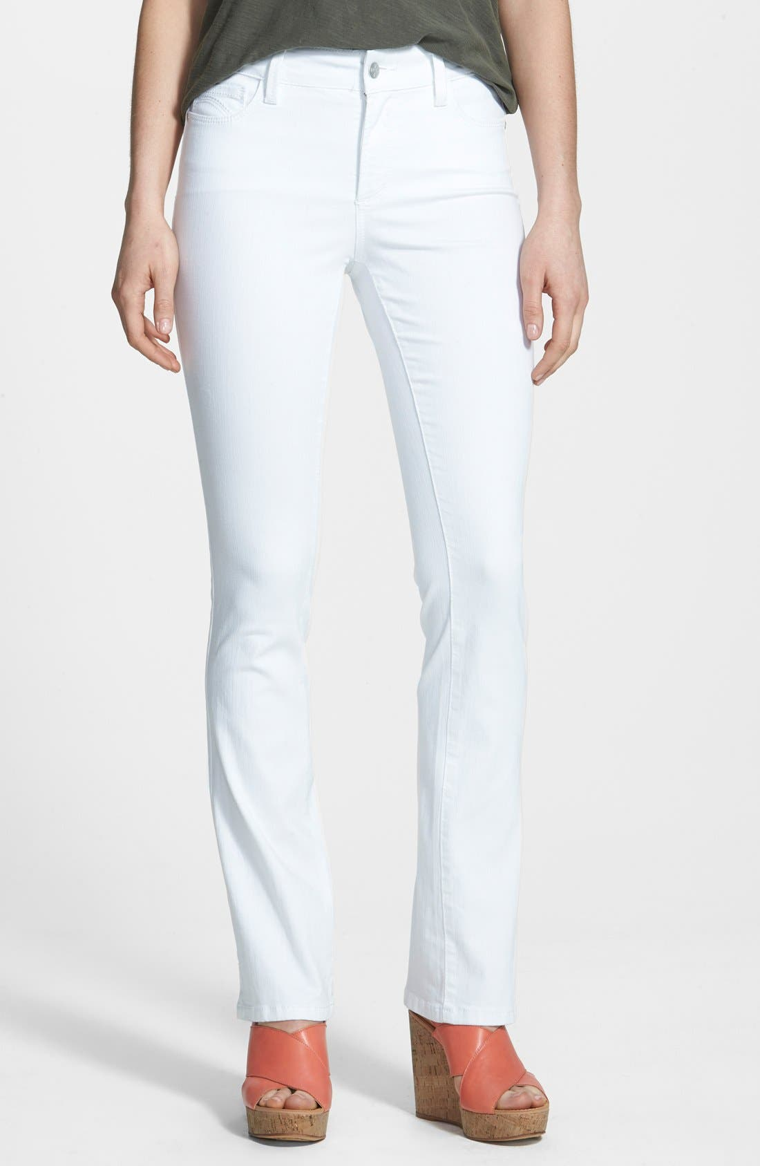 'Billie' Stretch Mini Bootcut Jeans,                         Main,                         color, Optic White