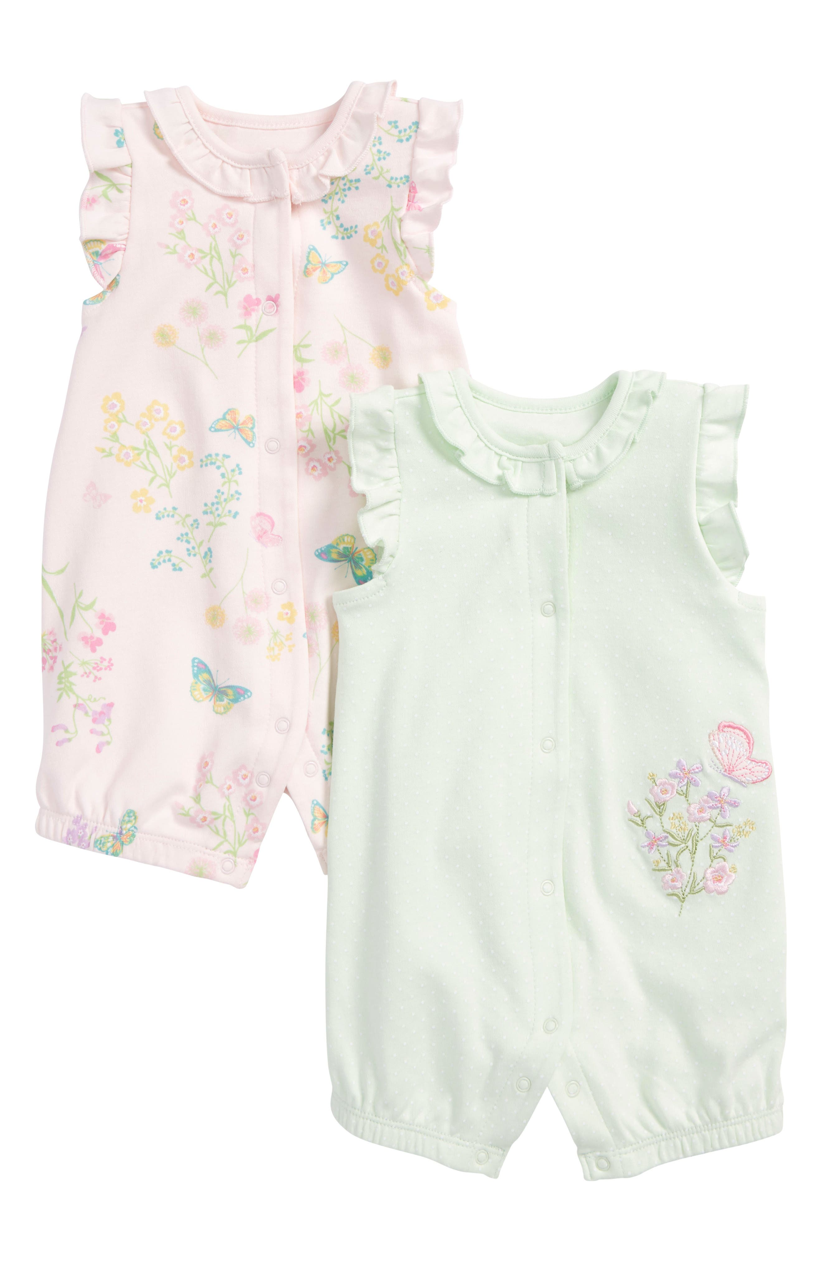 Alternate Image 1 Selected - Little Me Botanical 2-Pack Rompers (Baby Girls)