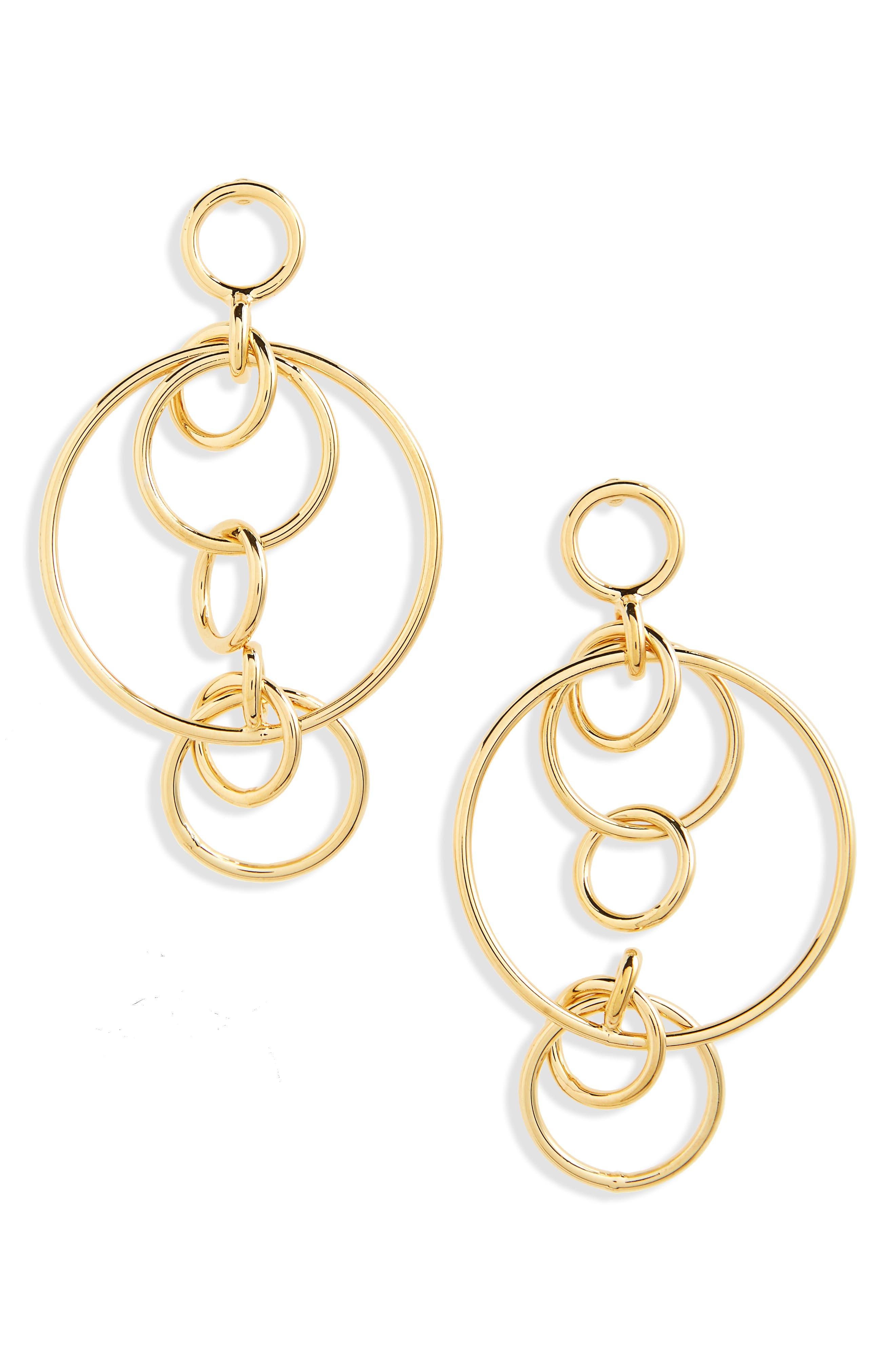 Circle Chandelier Earrings,                             Main thumbnail 1, color,                             Gold