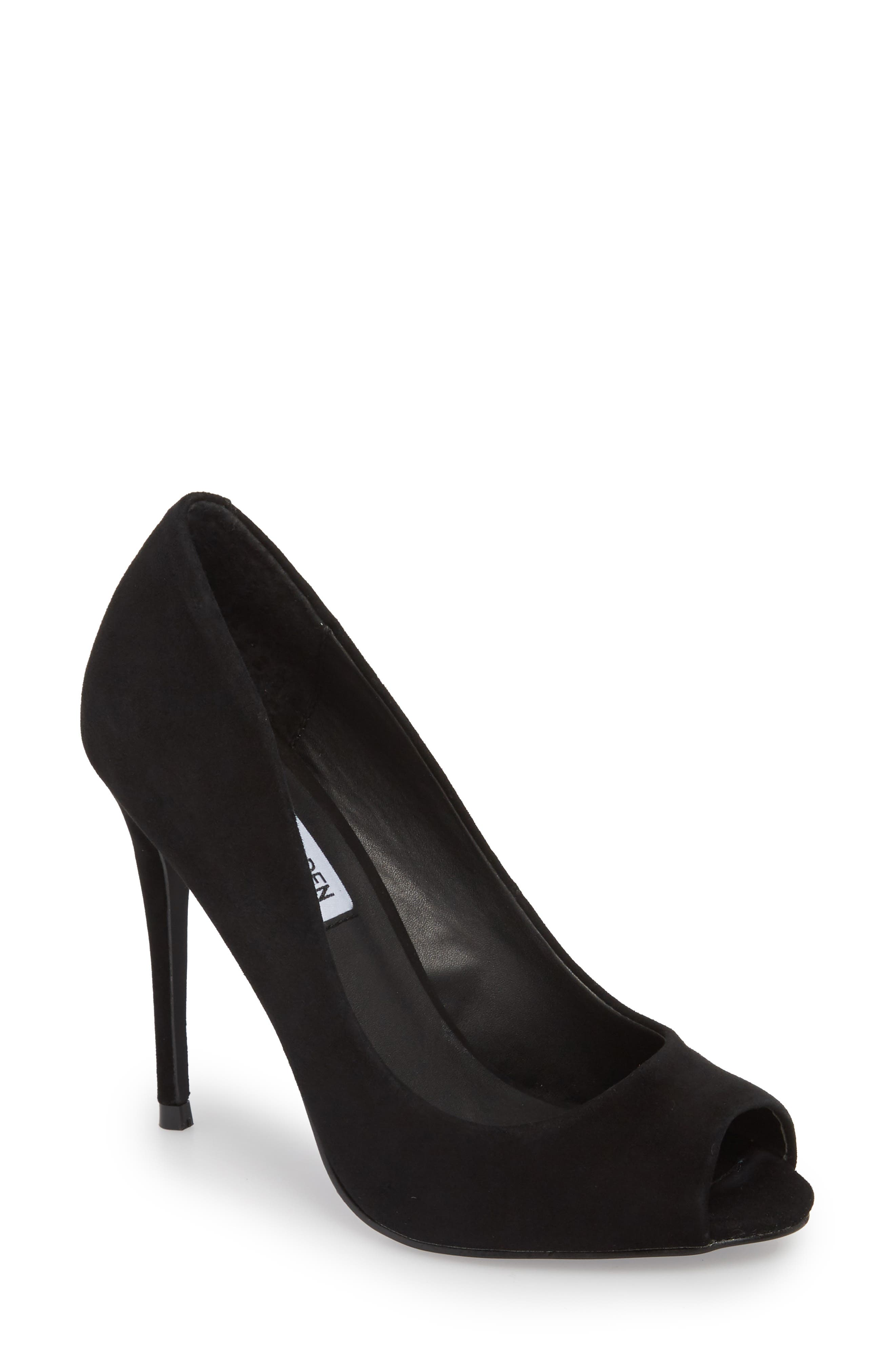 Diane Peep Toe Pump,                         Main,                         color, Black Suede