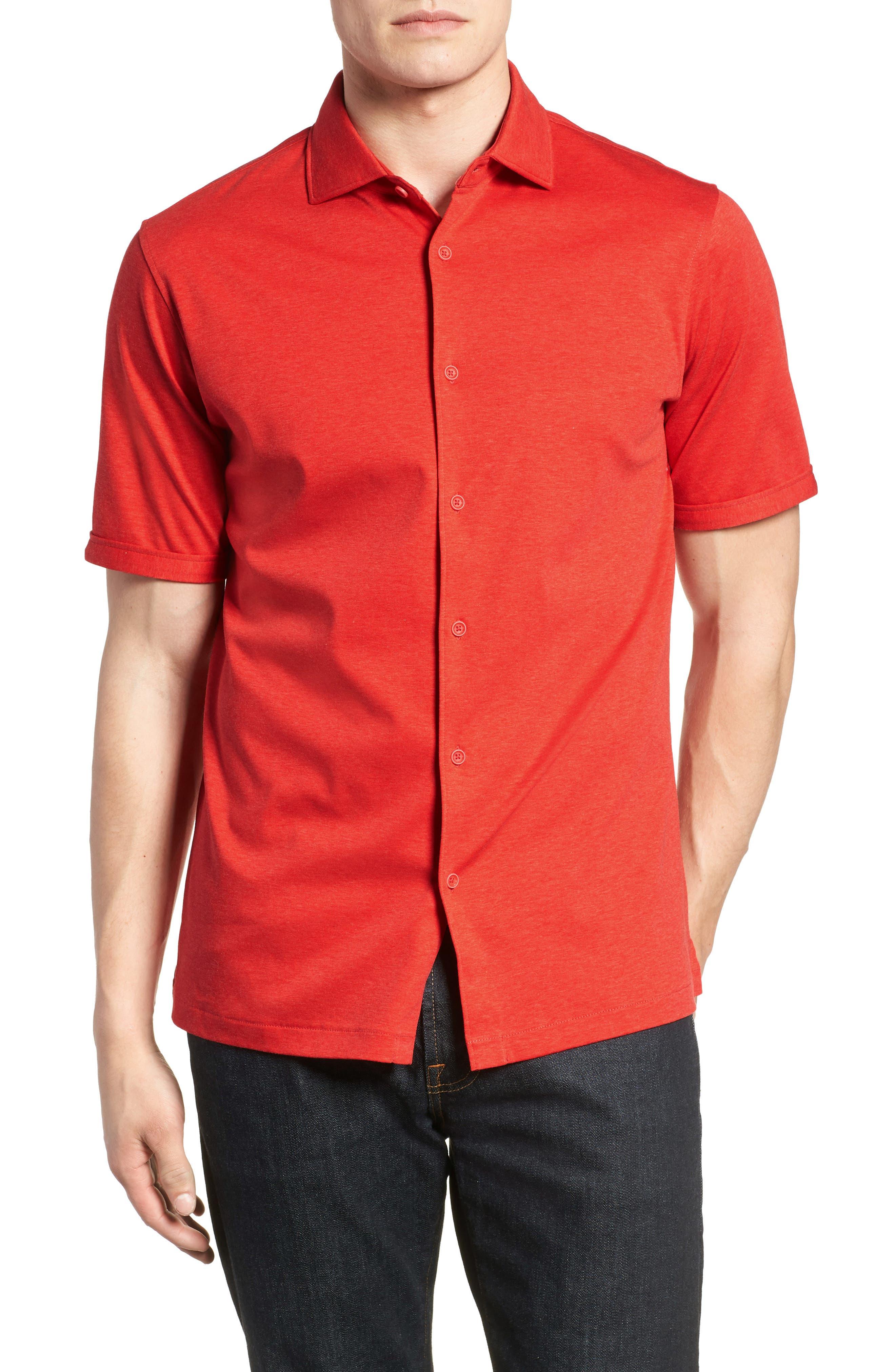 Trim Fit Heather Knit Sport Shirt,                             Main thumbnail 1, color,                             Cherry