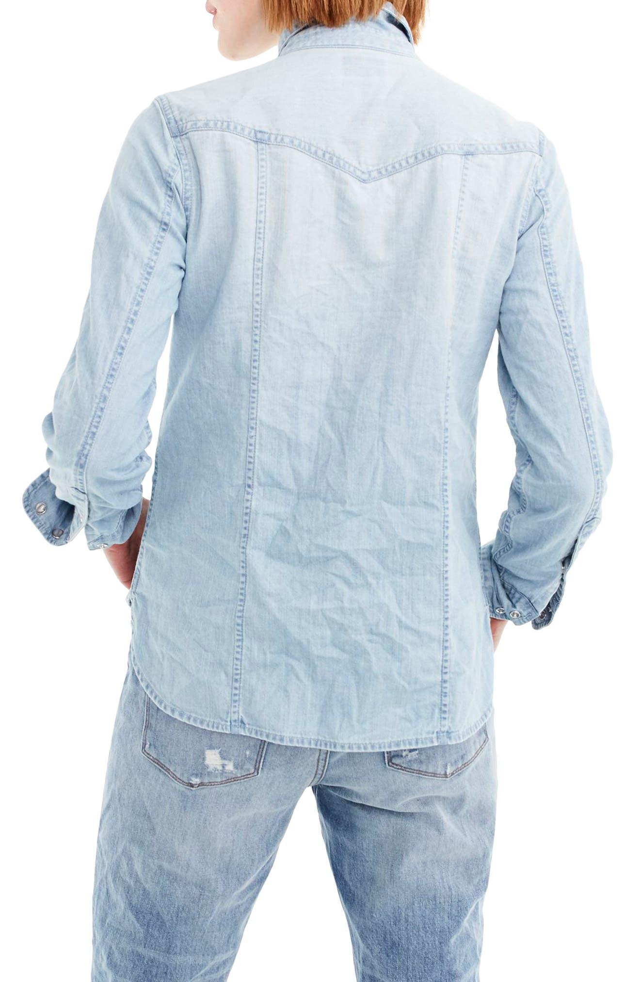 Light Wash Western Shirt,                             Alternate thumbnail 3, color,                             Clover Wash