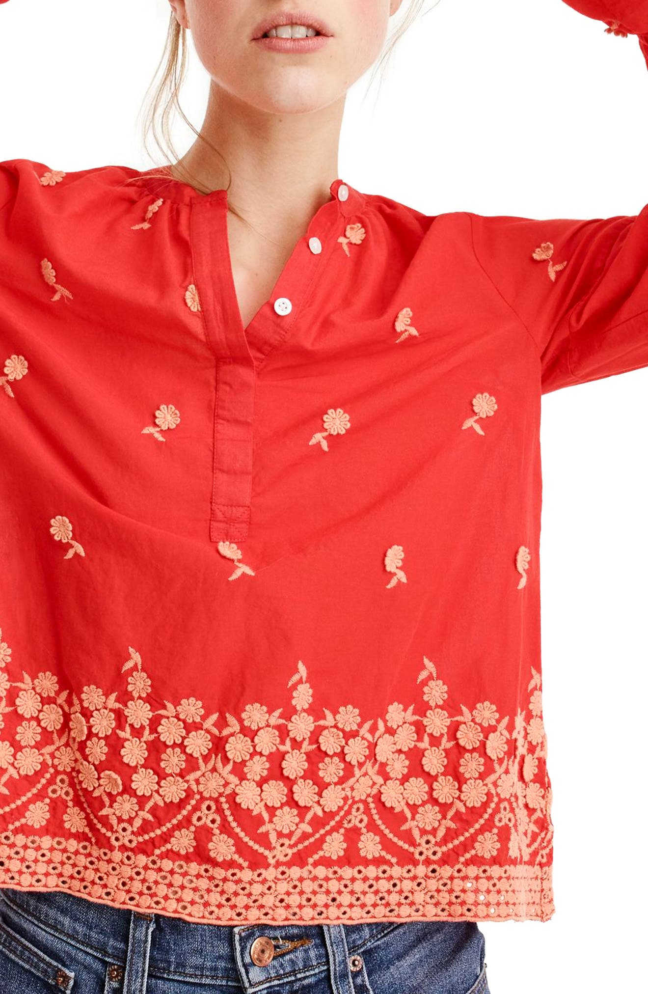 Floral Embroidered Popover Blouse,                             Main thumbnail 1, color,                             Fiery Sunset