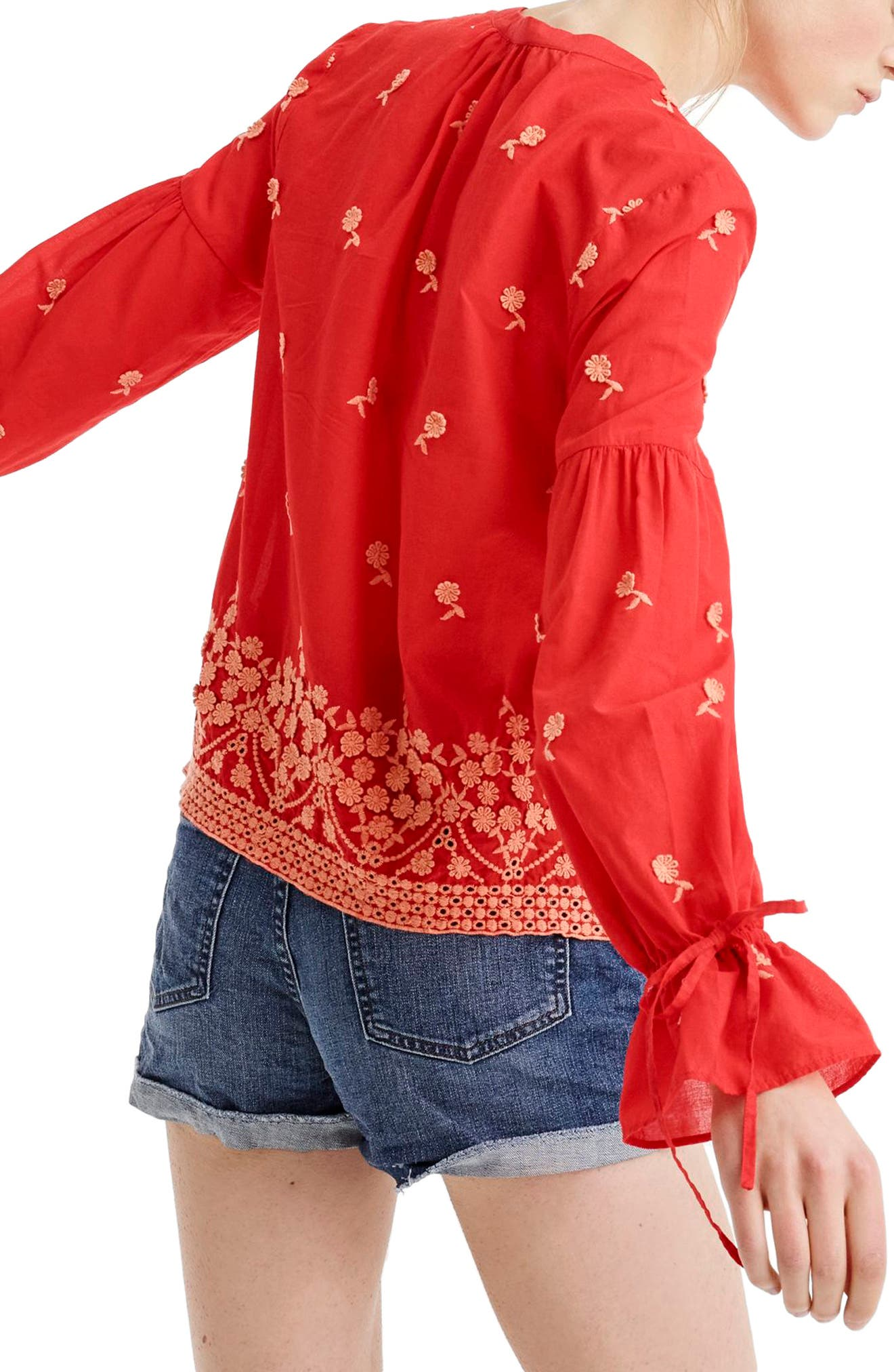 Floral Embroidered Popover Blouse,                             Alternate thumbnail 2, color,                             Fiery Sunset