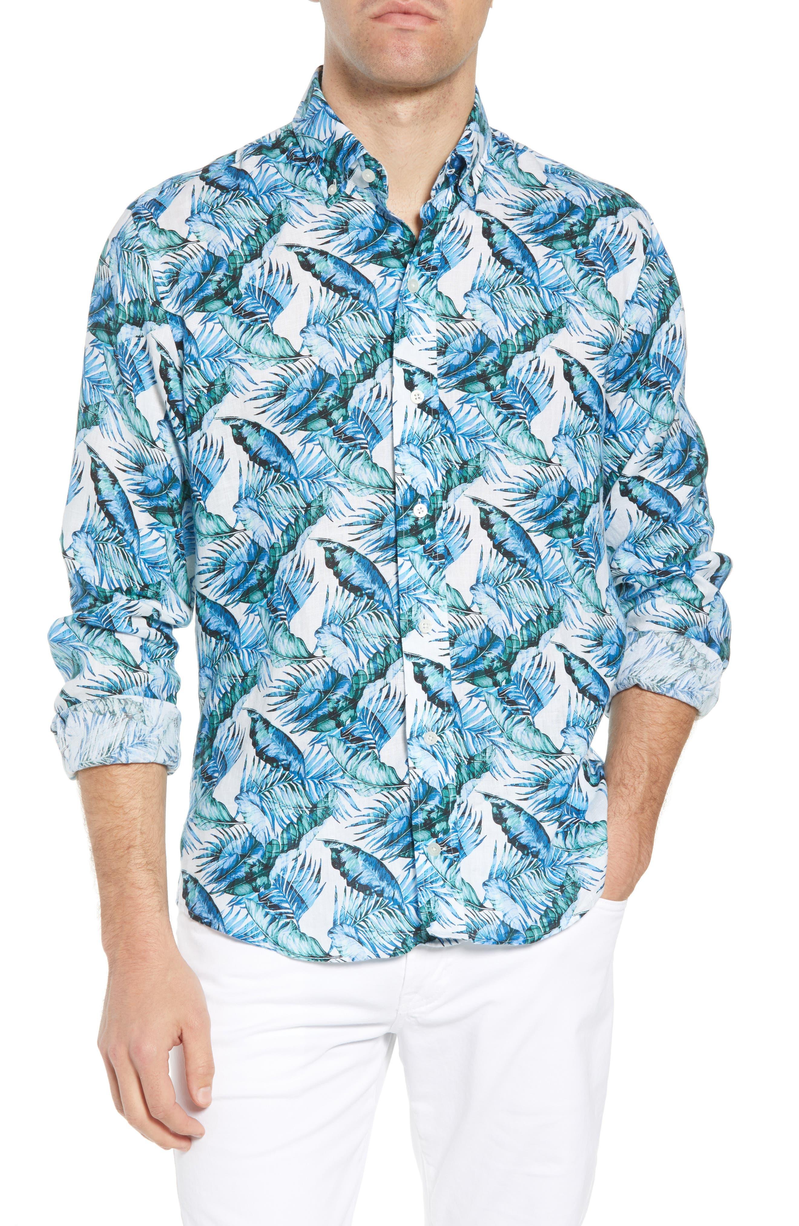 Ledbury Greencrest Classic Fit Palm Print Sport Shirt