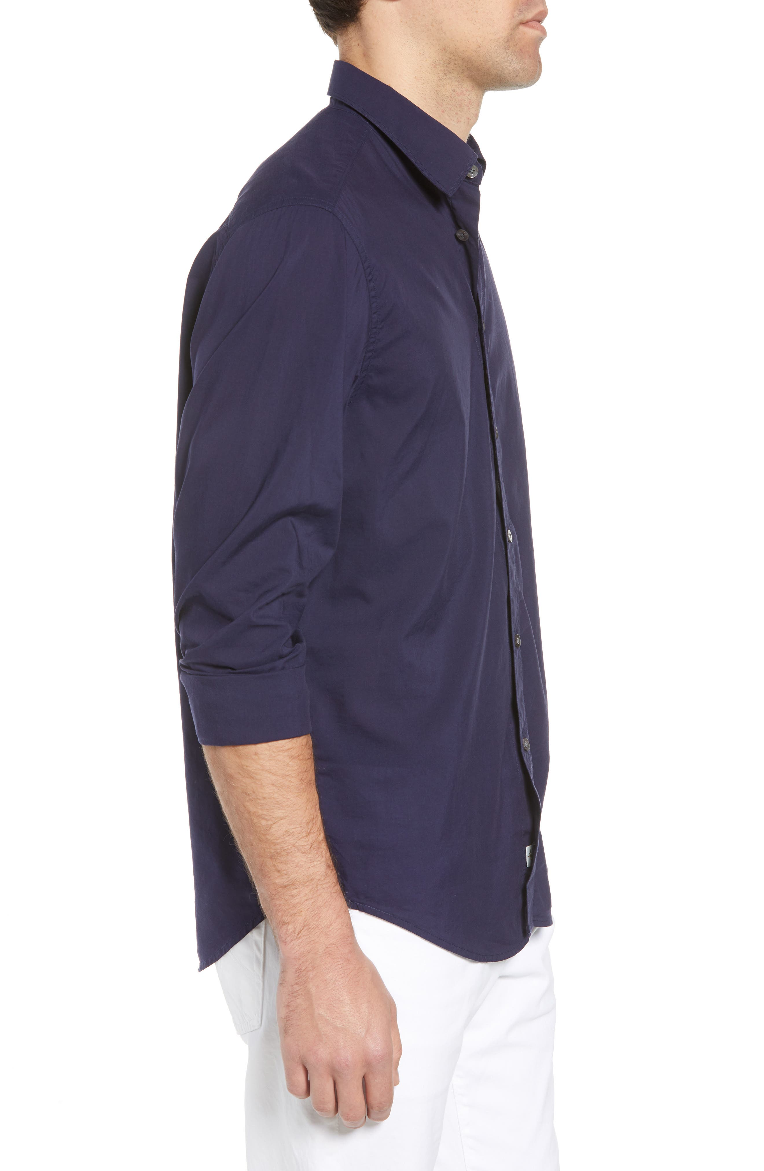 Pacifica Regular Fit Solid Sport Shirt,                             Alternate thumbnail 4, color,                             Navy