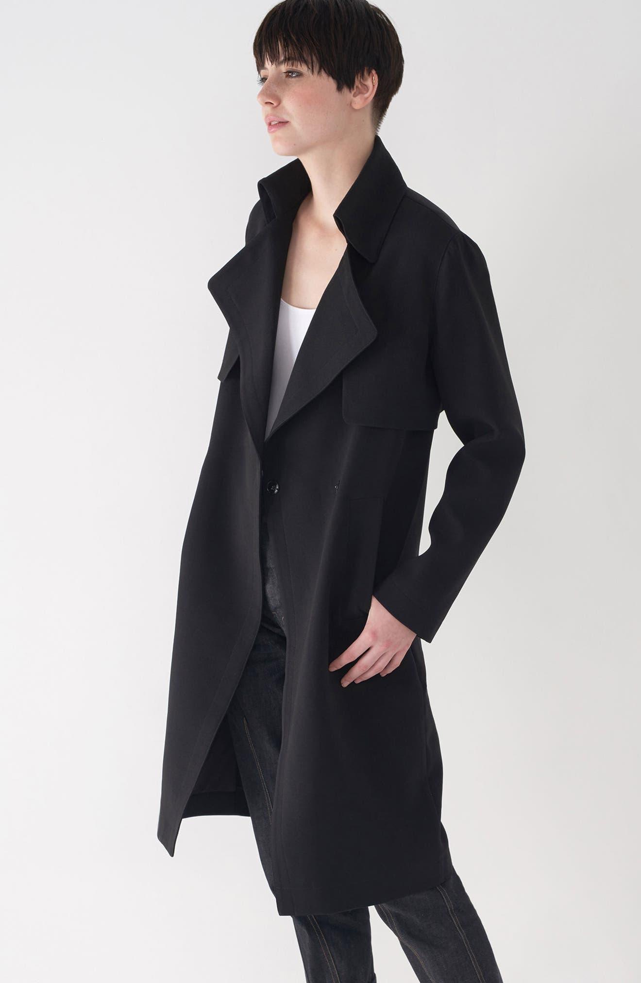 Long Duster Coat,                             Alternate thumbnail 3, color,                             Black