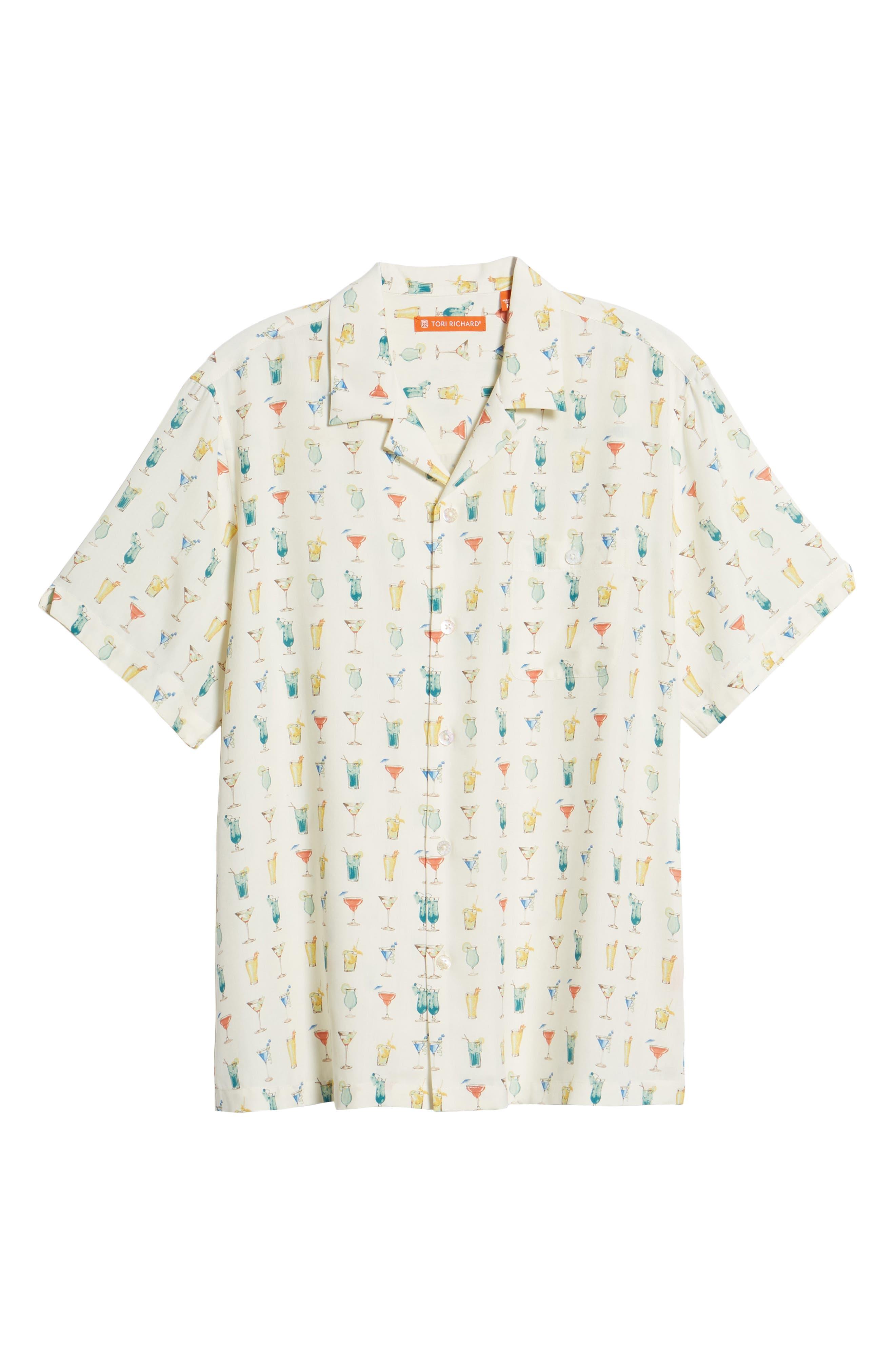 Mixalot Trim Fit Silk Blend Camp Shirt,                             Alternate thumbnail 6, color,                             Off White